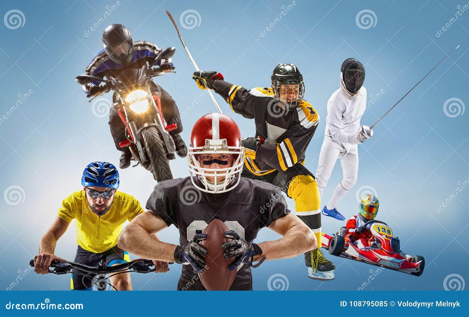 El collage multi conceptual de los deportes con el fútbol americano, hockey, cyclotourism, cercando, deporte de motor