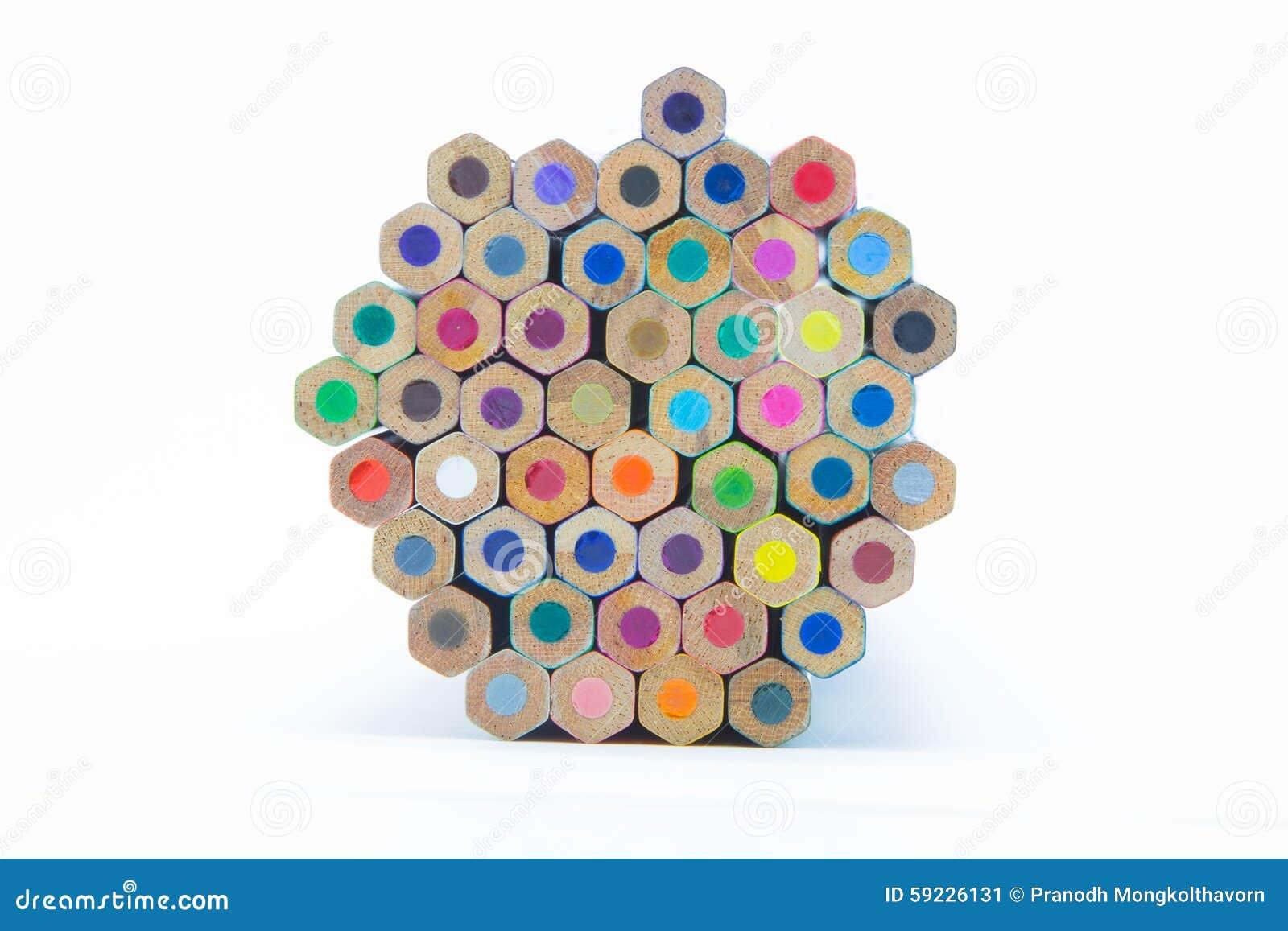 El color múltiple de madera dibujó a lápiz la visión inferior