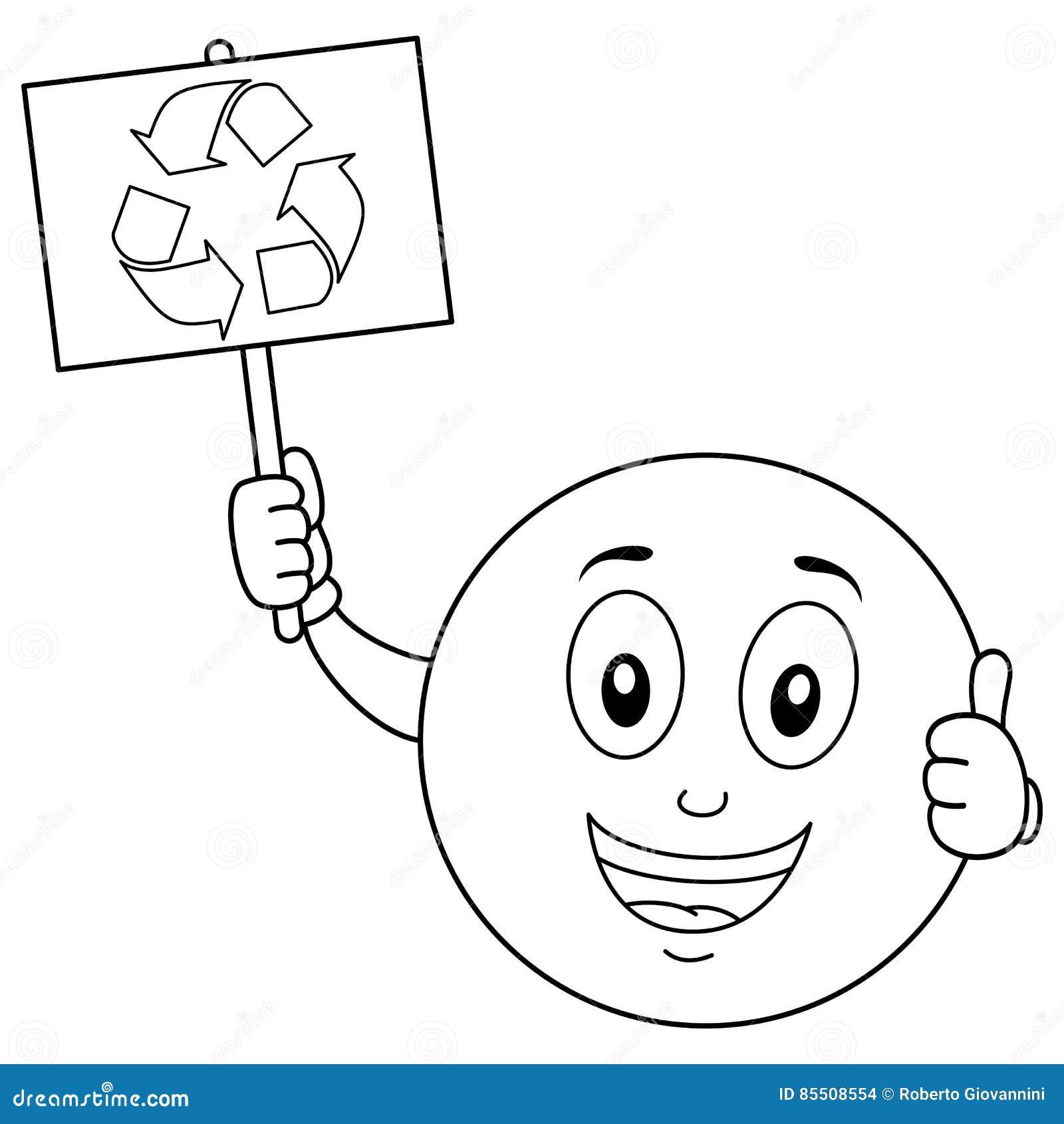 El Colorante Smiley Character Con Recicla La Muestra Ilustración del ...