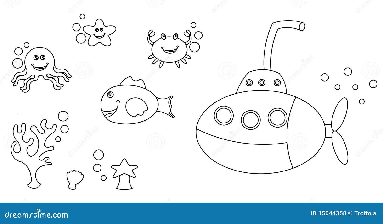 El Colorear De Los Caracteres De La Vida De Mar Stock De Ilustración