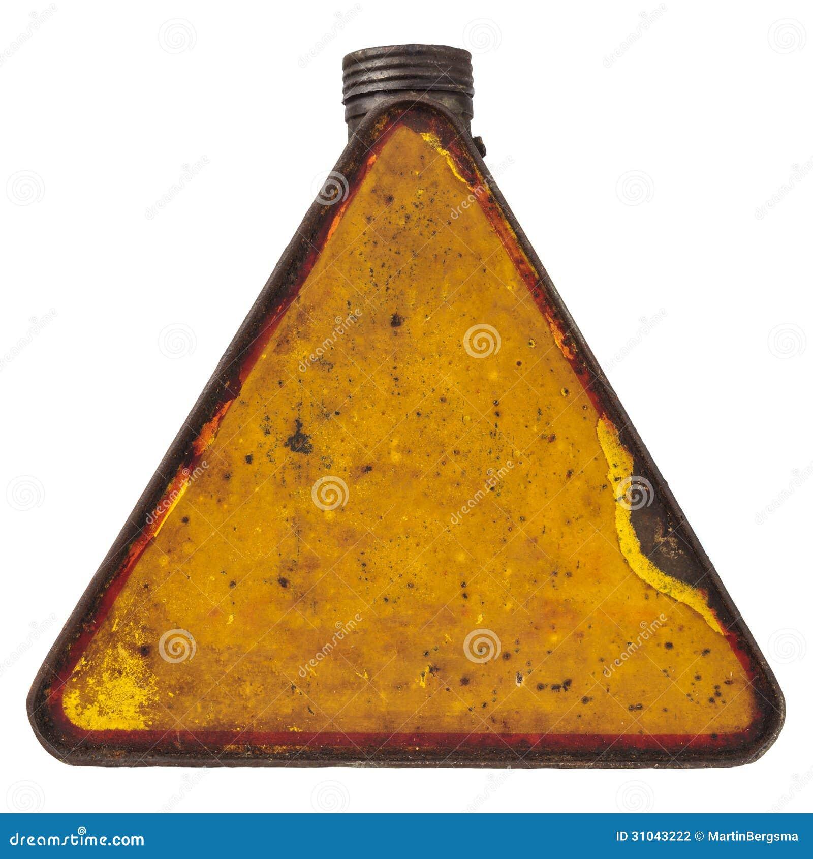 El combustible triangular del vintage puede aislado en blanco