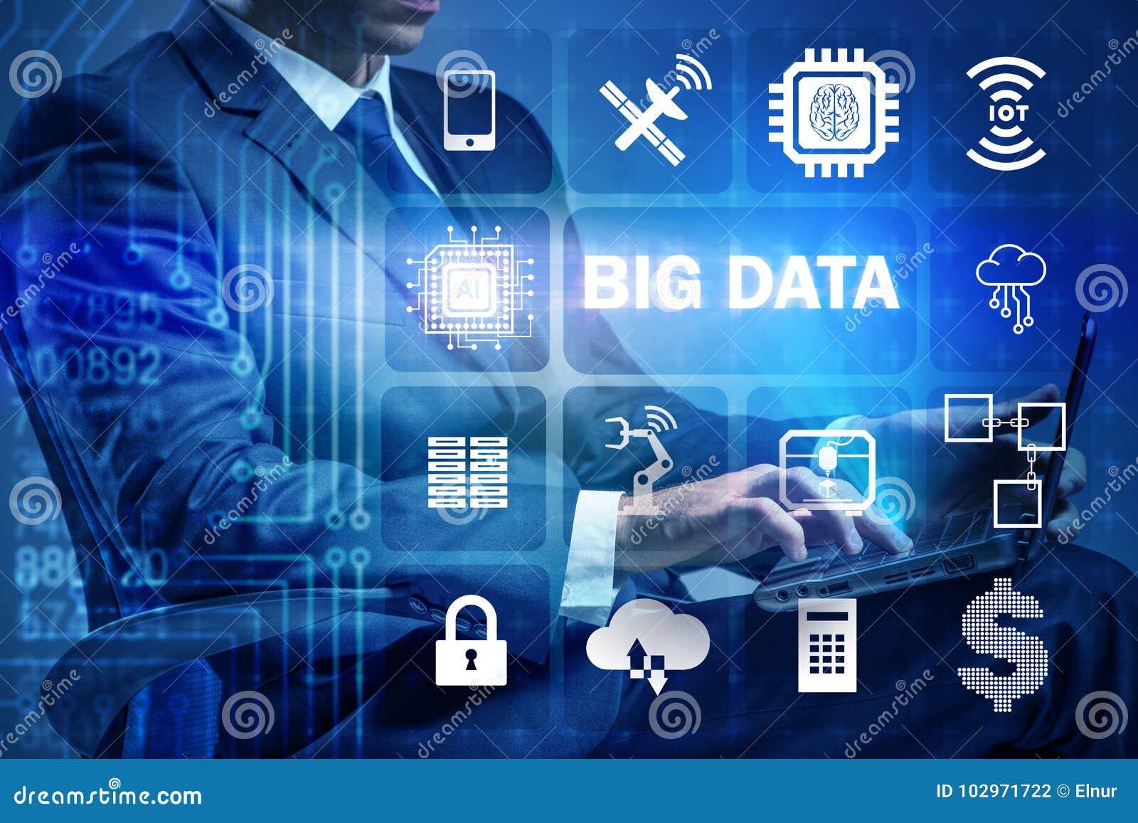 El concepto computacional moderno de los datos grandes con el hombre de negocios