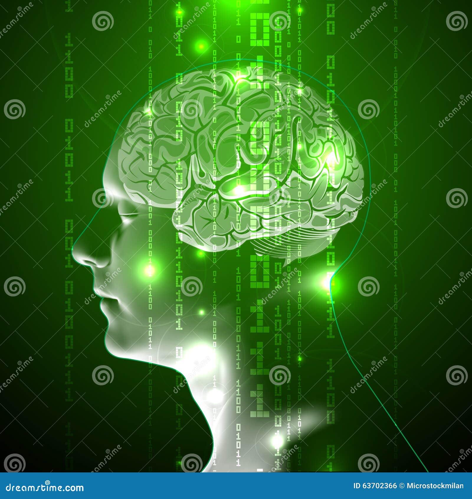 El concepto de cerebro humano activo con código binario