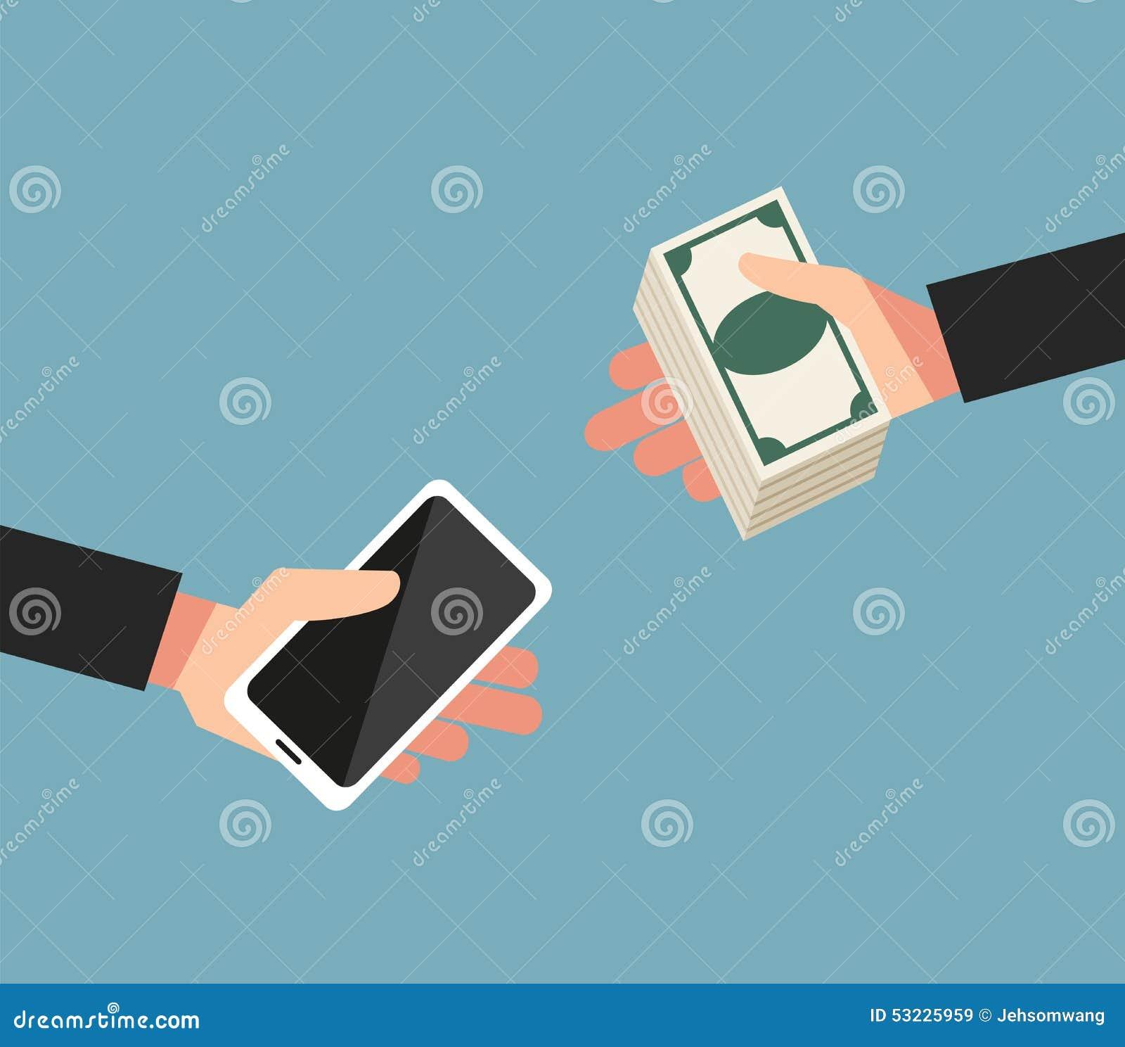 El concepto de intercambiar el dinero por teléfono móvil