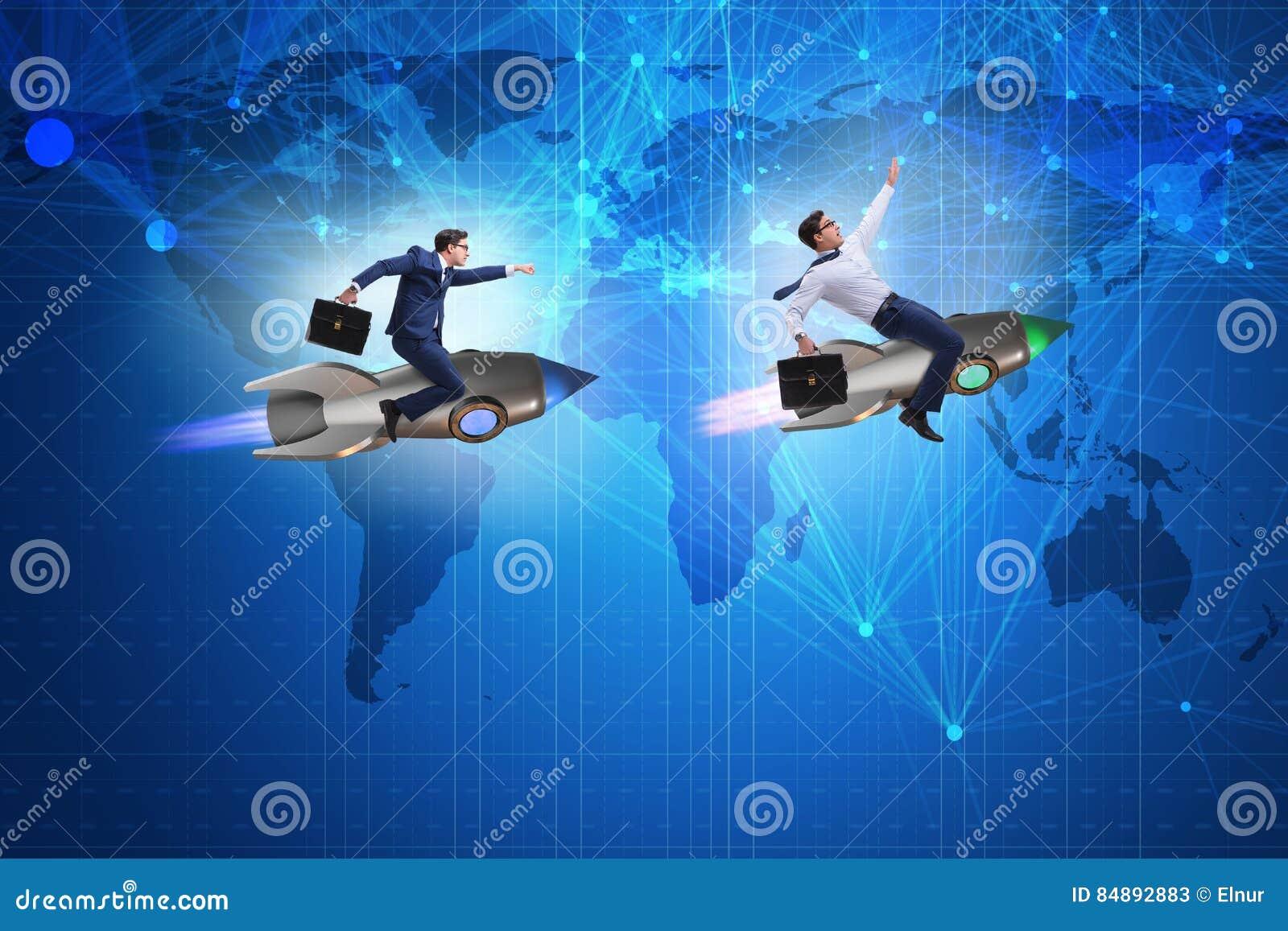 El concepto de la competición mundial con la persecución de hombres de negocios