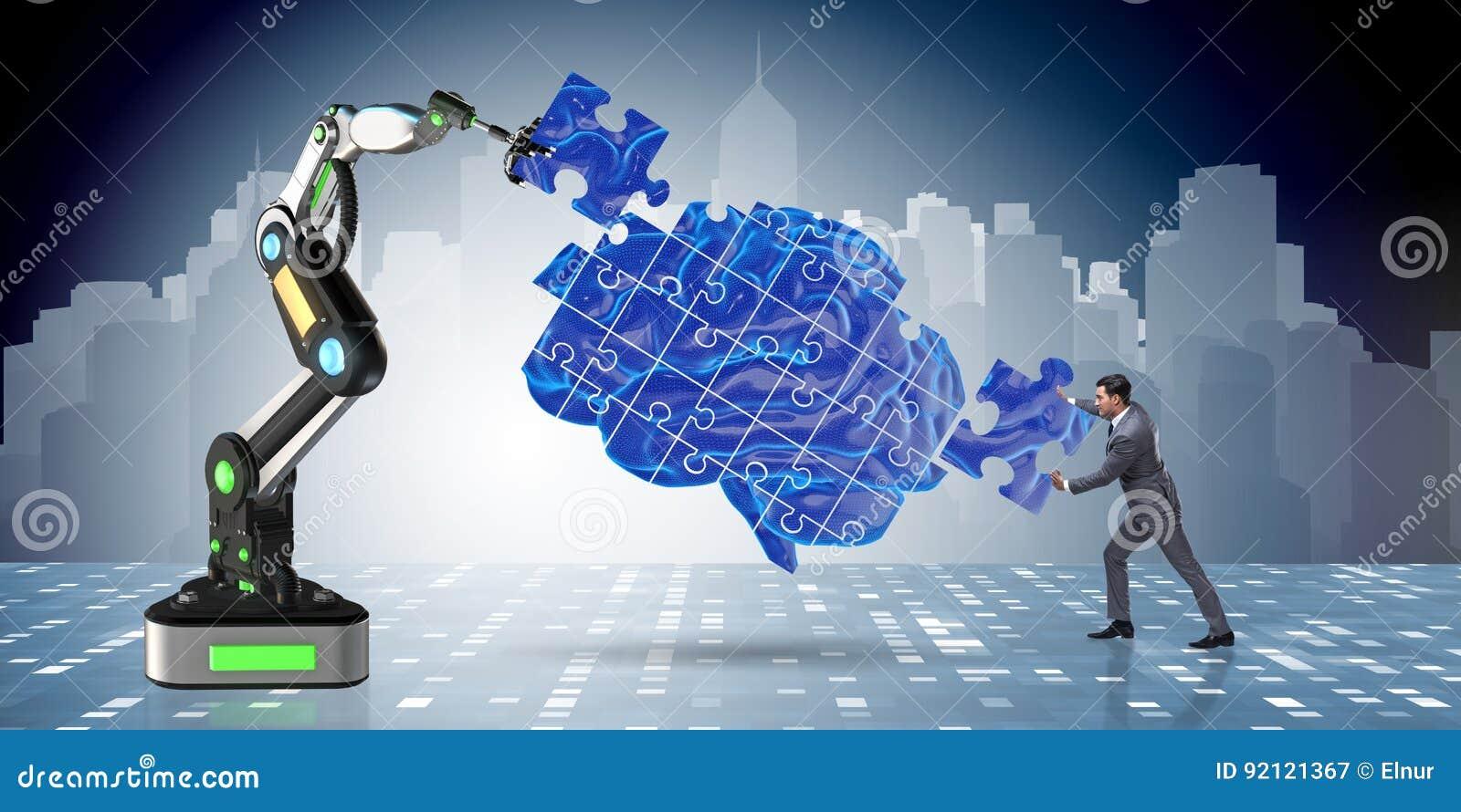 El concepto de la inteligencia artificial con el hombre de negocios