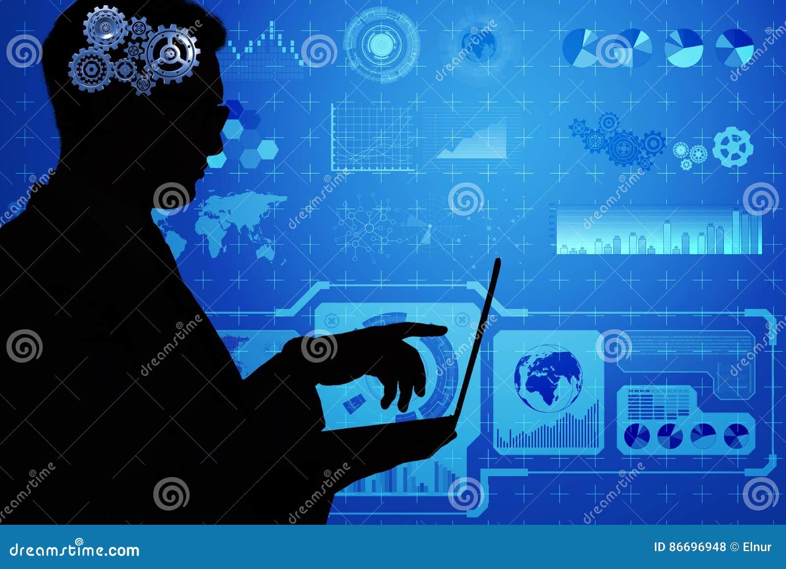 El concepto de la inteligencia artificial con el hombre y el ordenador portátil