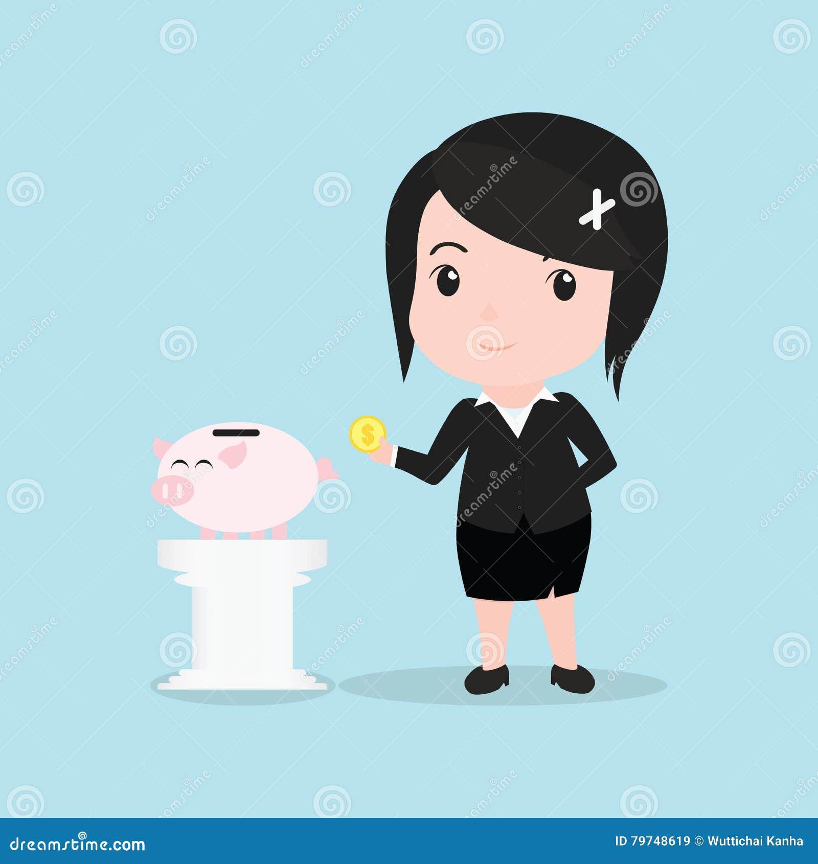 El concepto de la mujer de negocios por el dinero cae la hucha