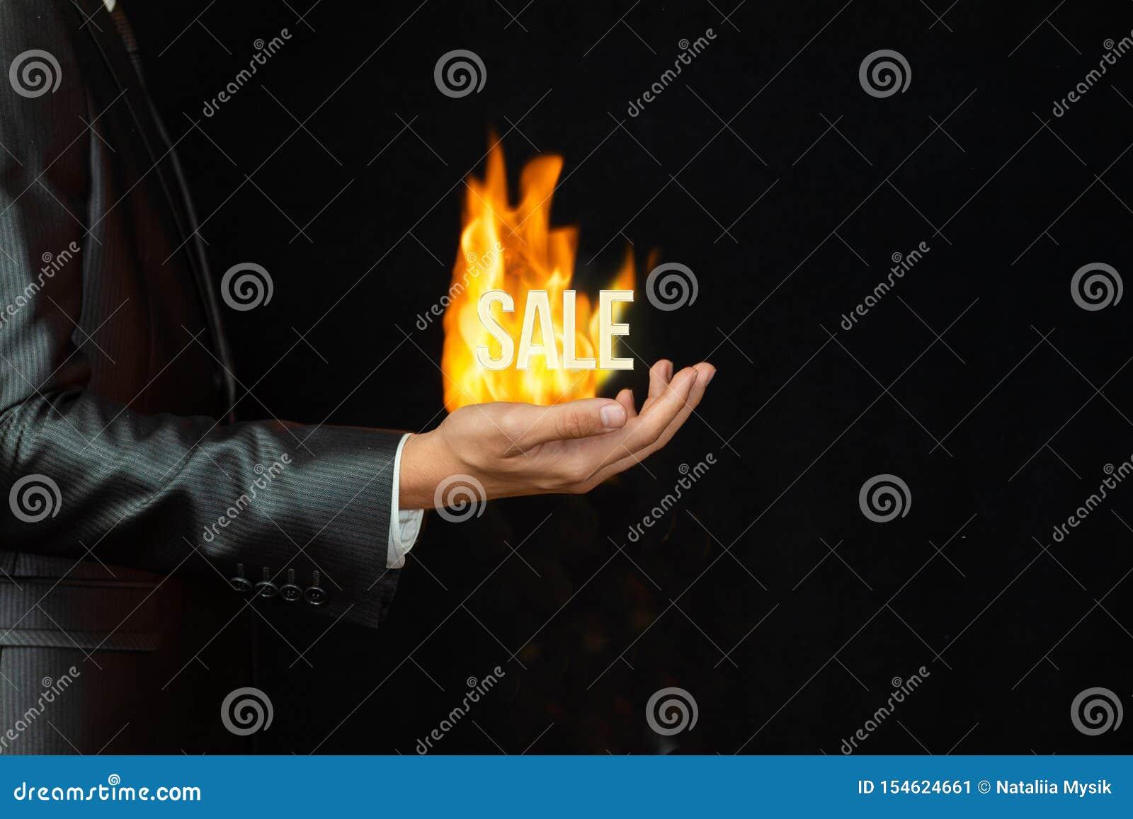 El concepto de mejor oferta ardiendo del negocio