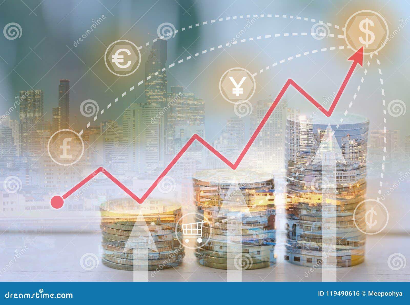 El concepto de negocio sobre el dinero y los beneficios en la inversión negocian