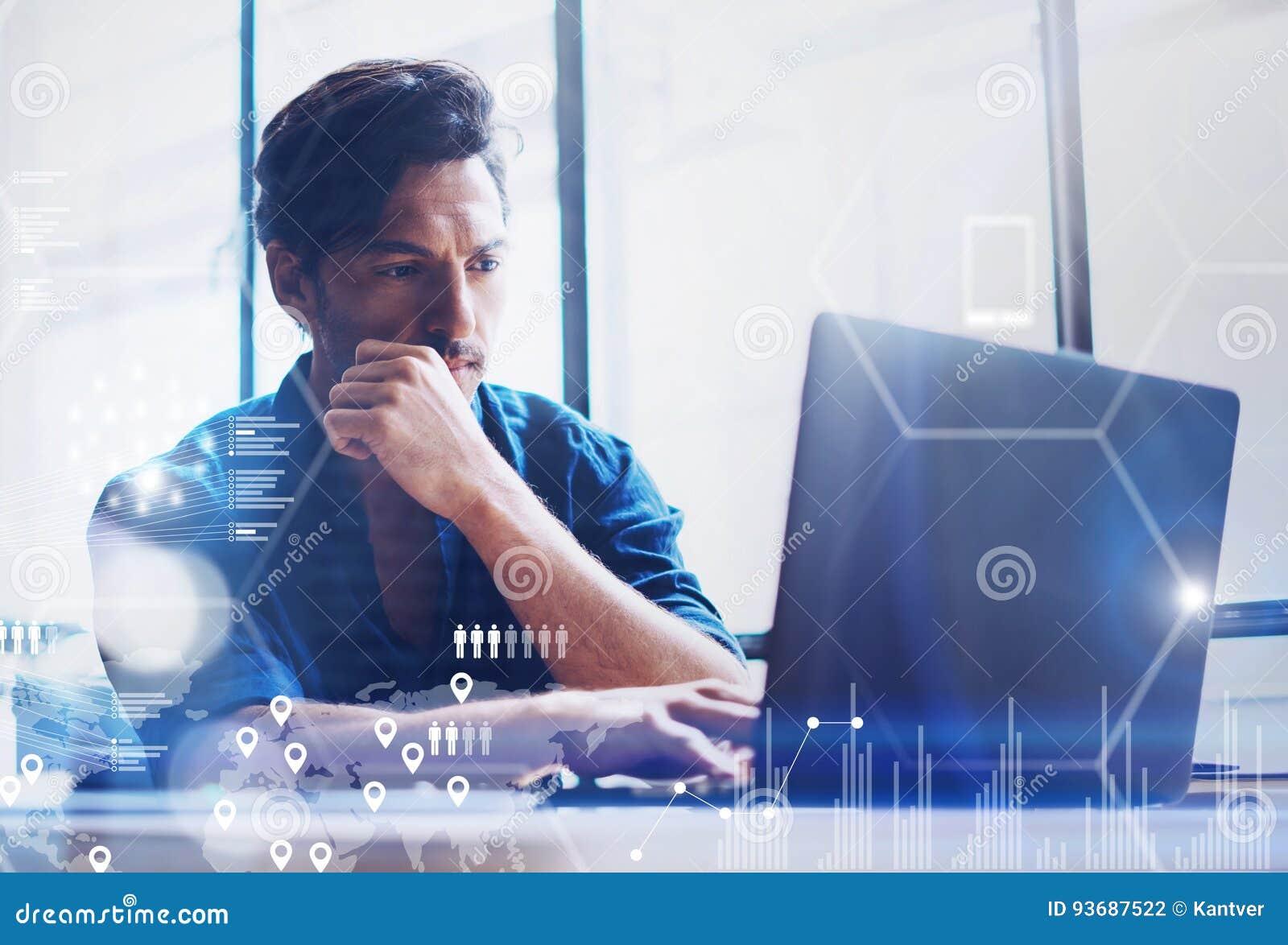 El concepto de pantalla digital, icono de la conexión virtual, diagrama, gráfico interconecta Analista joven de las finanzas de l