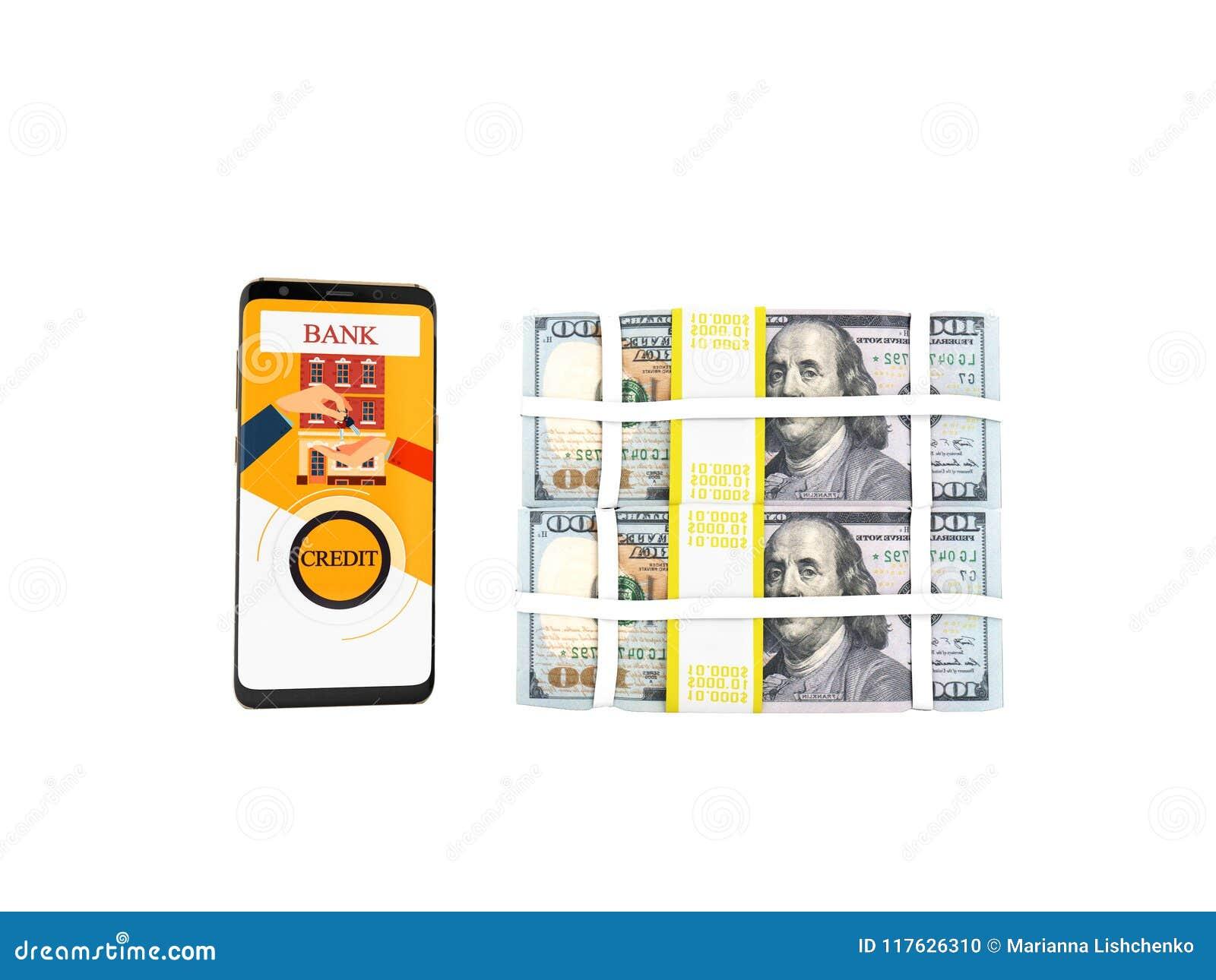El concepto de préstamo a través del teléfono en el banco en los dólares 3d rinde en wh