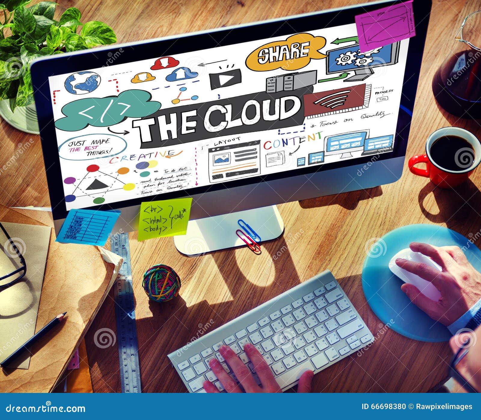 El concepto del almacenamiento de la parte de la información de la conectividad de la nube
