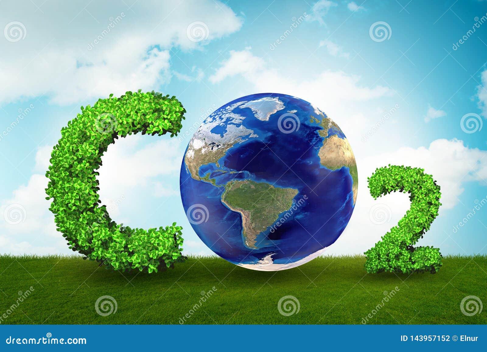 El concepto del invernadero con el gas del CO2 - representación 3d
