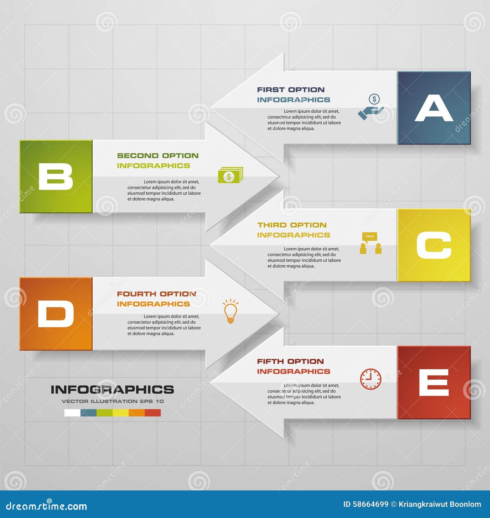 El concepto del negocio con 5 opciones en forma de la flecha parte, los pasos o los procesos Plantilla para el diagrama, fondo de