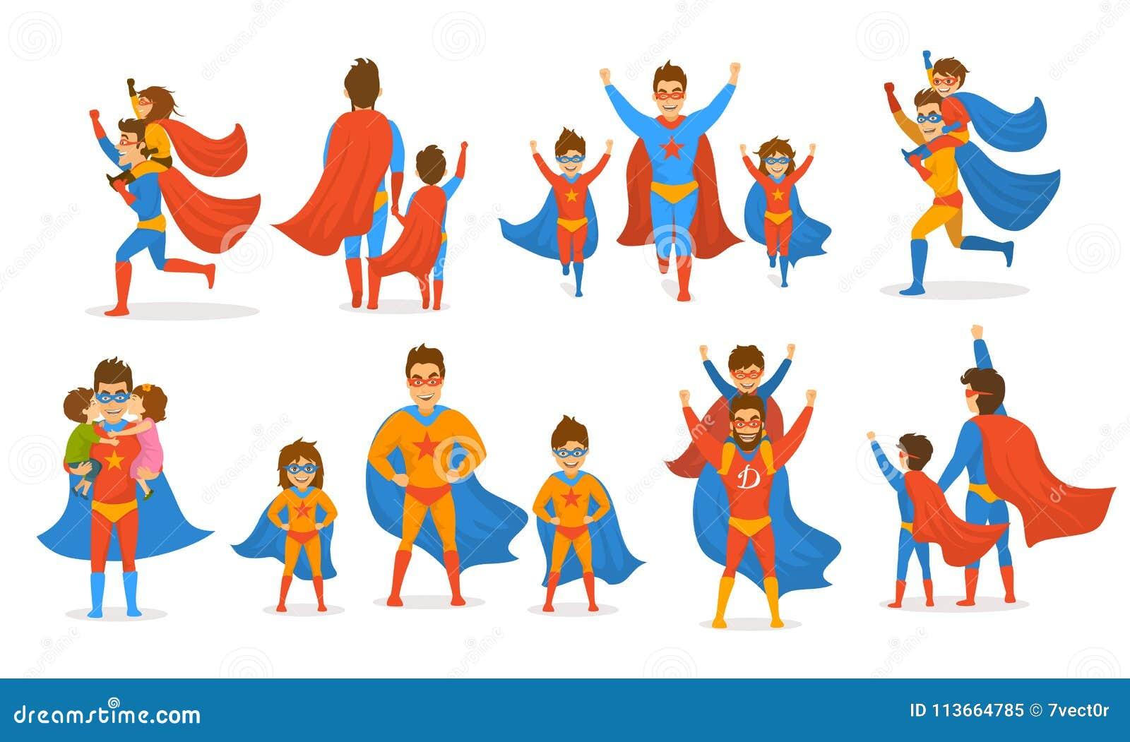 El concepto feliz del día de padres aisló las escenas del ejemplo del vector fijadas, papá y los niños, muchacho y muchacha jugan