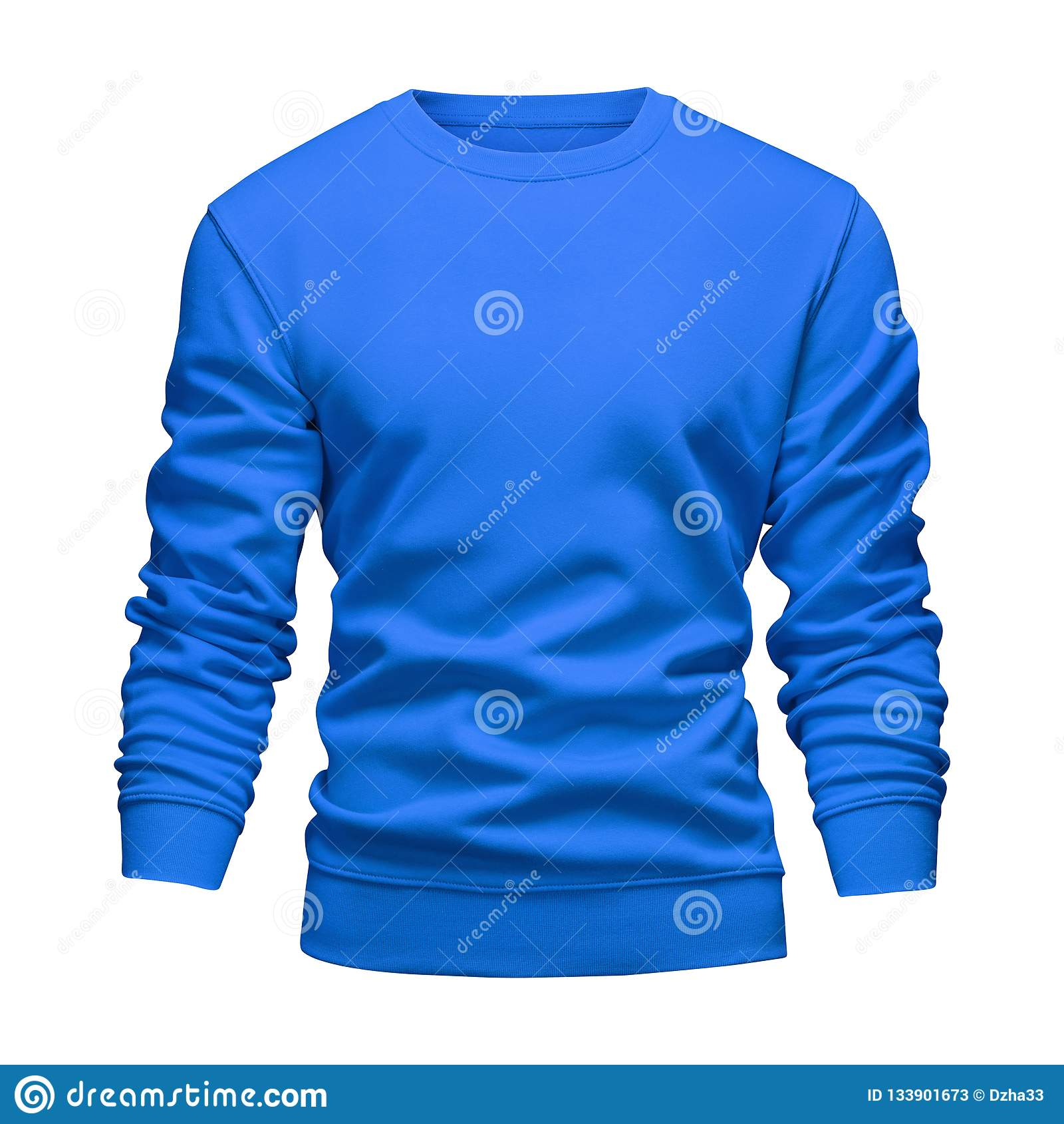 El concepto ondulado de la camiseta azul de la maqueta del espacio en blanco de los hombres con las mangas largas aisló el fondo