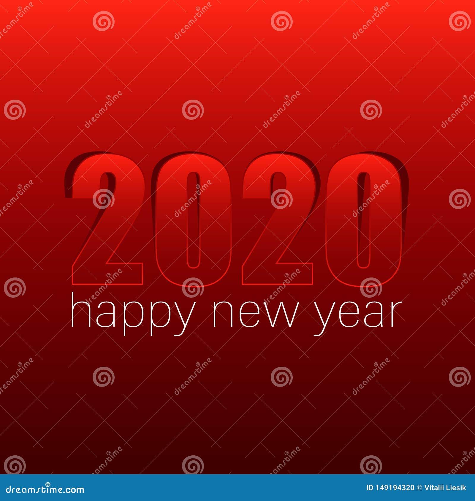 El concepto rojo 2020 de la Feliz Año Nuevo con el papel cuted los números blancos en cuerdas Ilustraci?n del vector