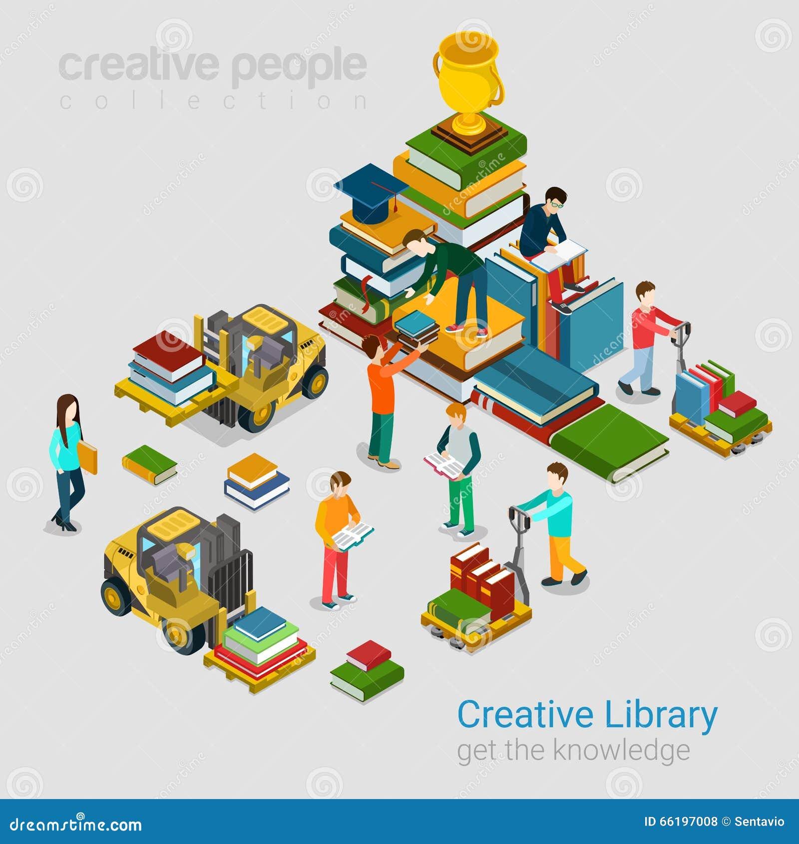 El conocimiento creativo de la educación de la biblioteca reserva 3d plano isométrico