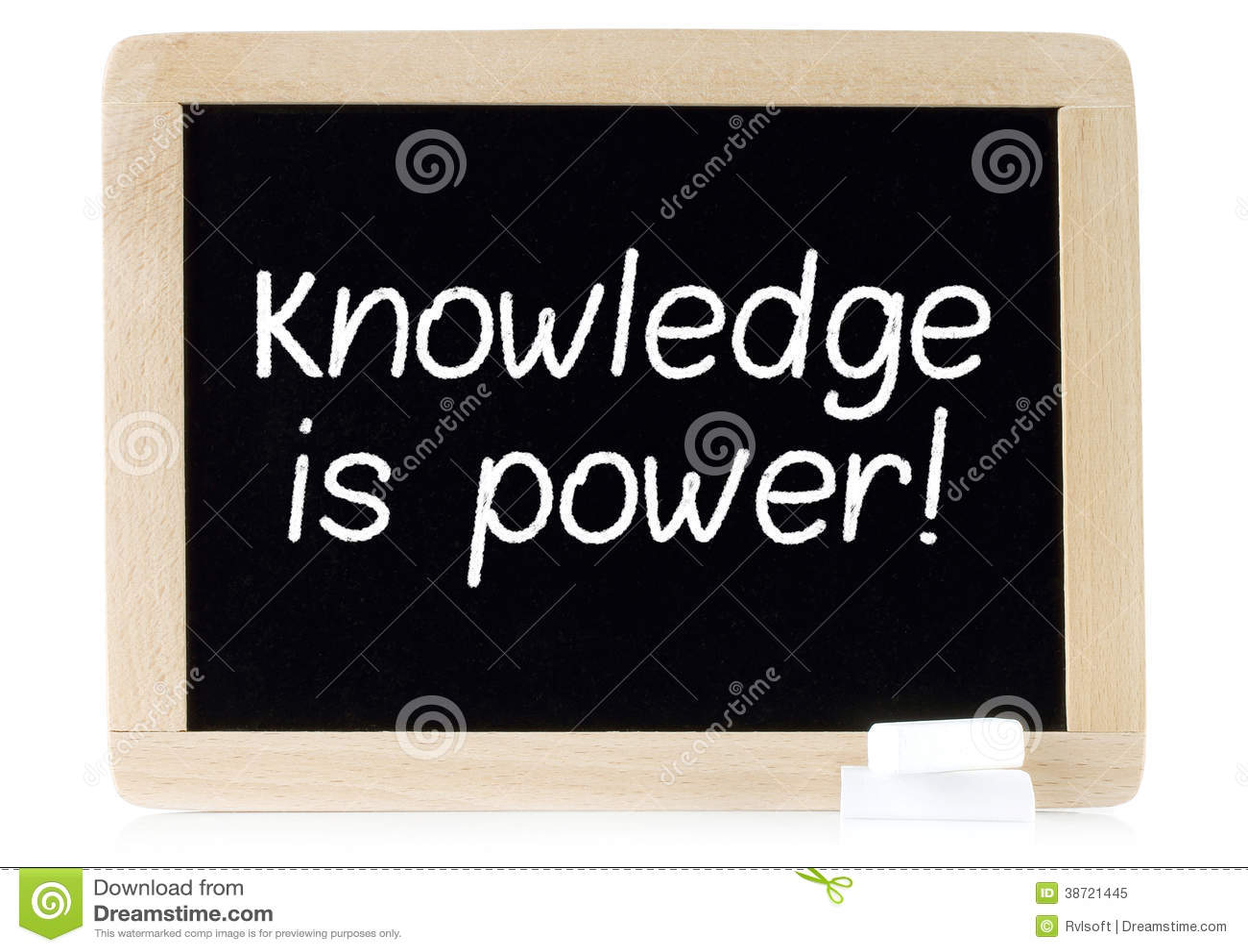 El conocimiento es poder en el tablero de tiza