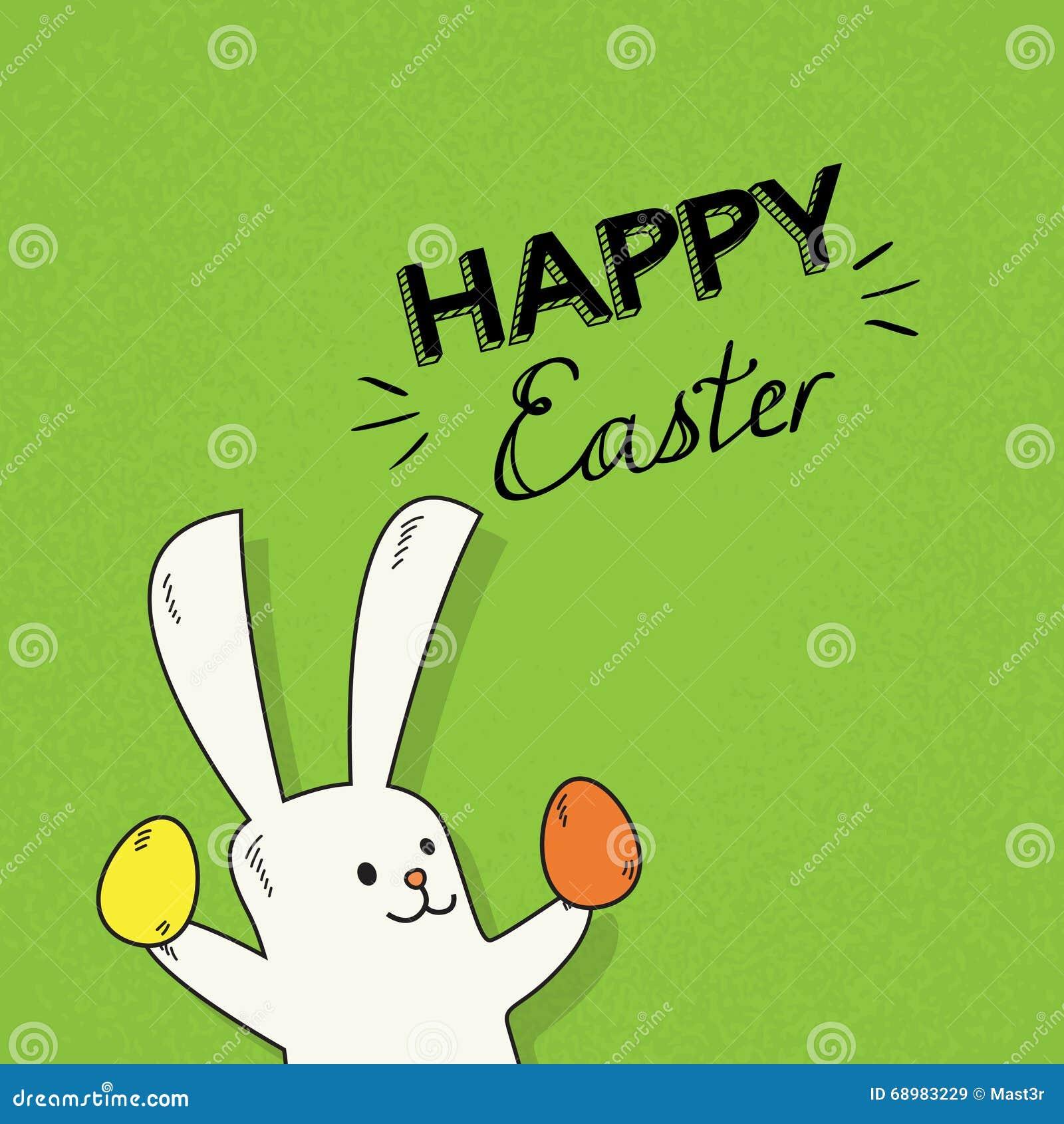 El control del conejo de Pascua adornó símbolos coloridos del día de fiesta del huevo