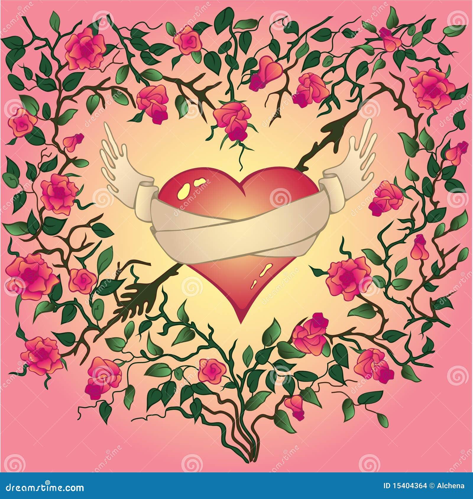 El Corazón Con Las Rosas Y Las Espinas Ilustración Del Vector