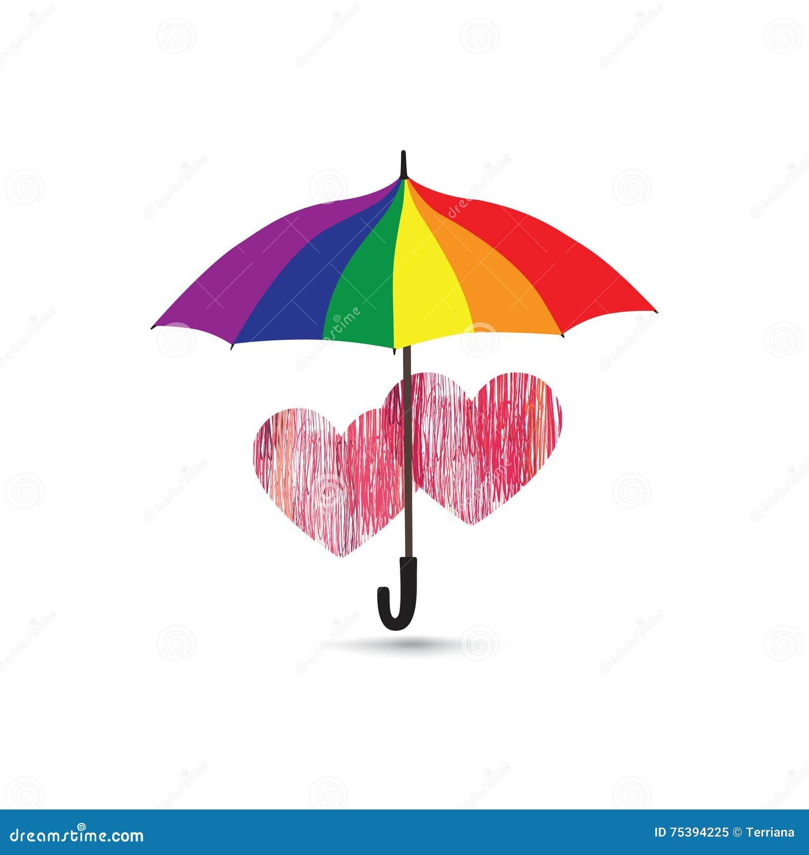 El Corazón Del Amor Firma Encima La Protección Del Paraguas En ...