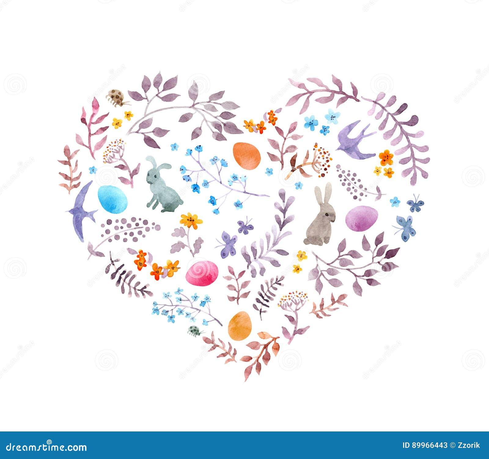 El corazón lindo de pascua con los conejos, huevos, vintage florece, los pájaros watercolor