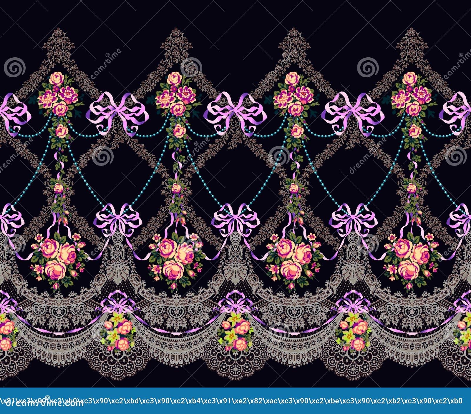 El cordón horizontal de la frontera del modelo de la tela florece la guirnalda
