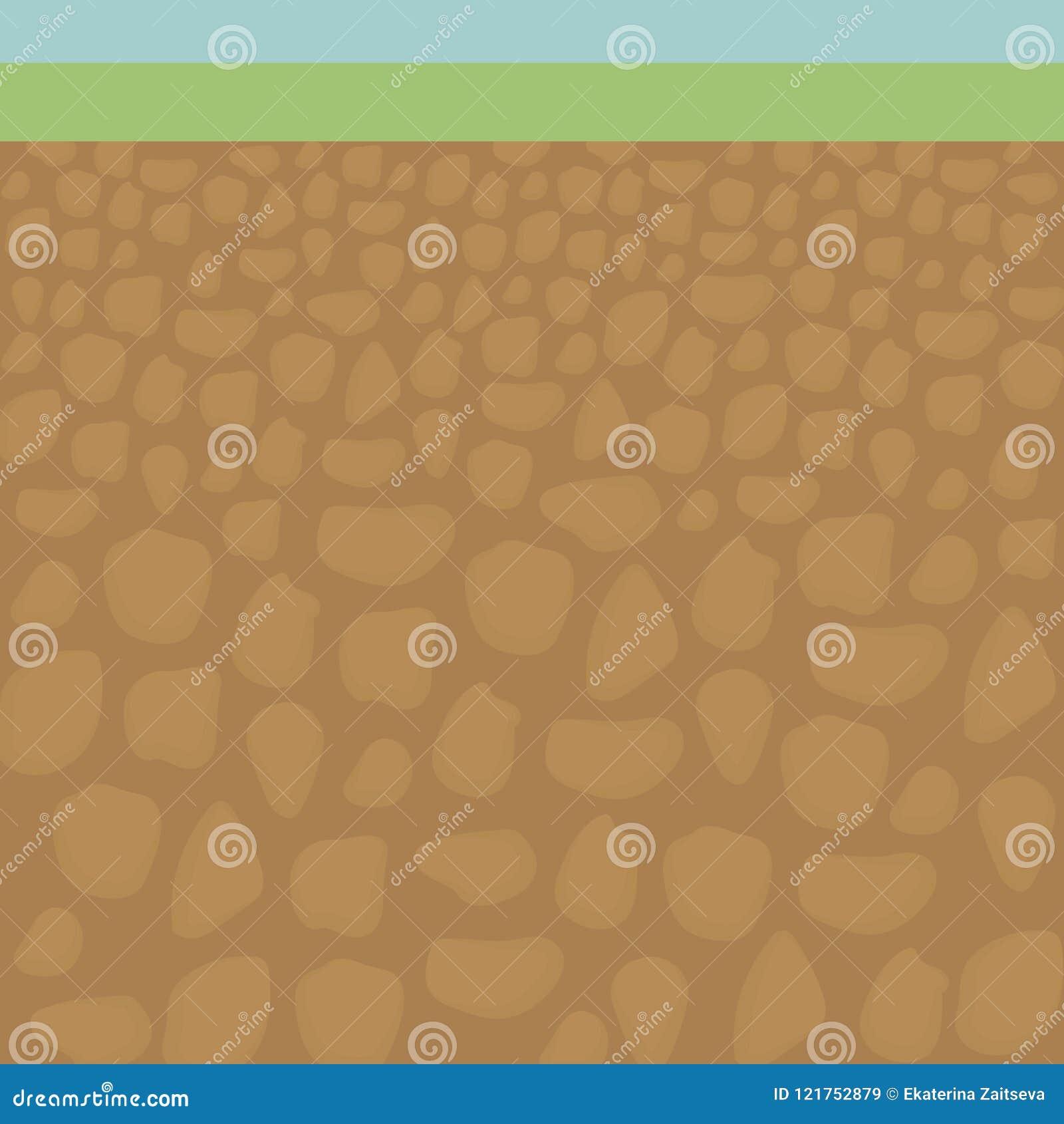El corte del suelo desde adentro debajo de hierba verde y la tierra del color anaranjado con las piedras vector el ejemplo