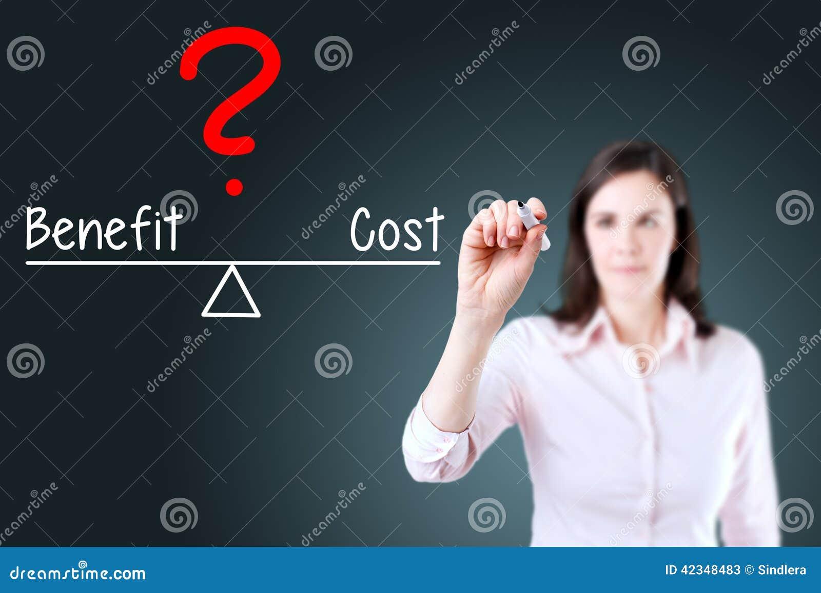 El coste y la ventaja jovenes de la escritura de la mujer de negocios comparan en barra de la balanza Fondo para una tarjeta de l