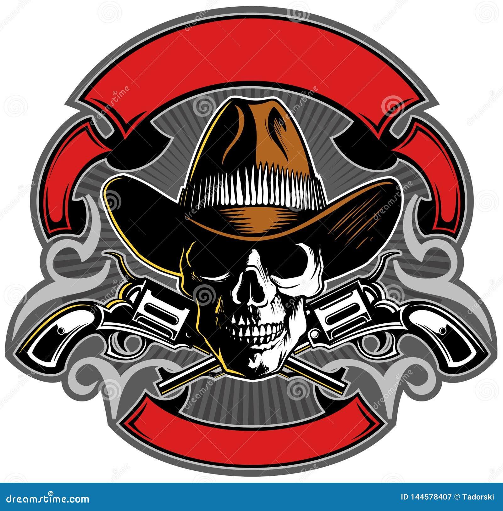 El cráneo del estilo del vintage con el sombrero de vaquero, cruzó los armas y las banderas, diseño del logotipo del cráneo d