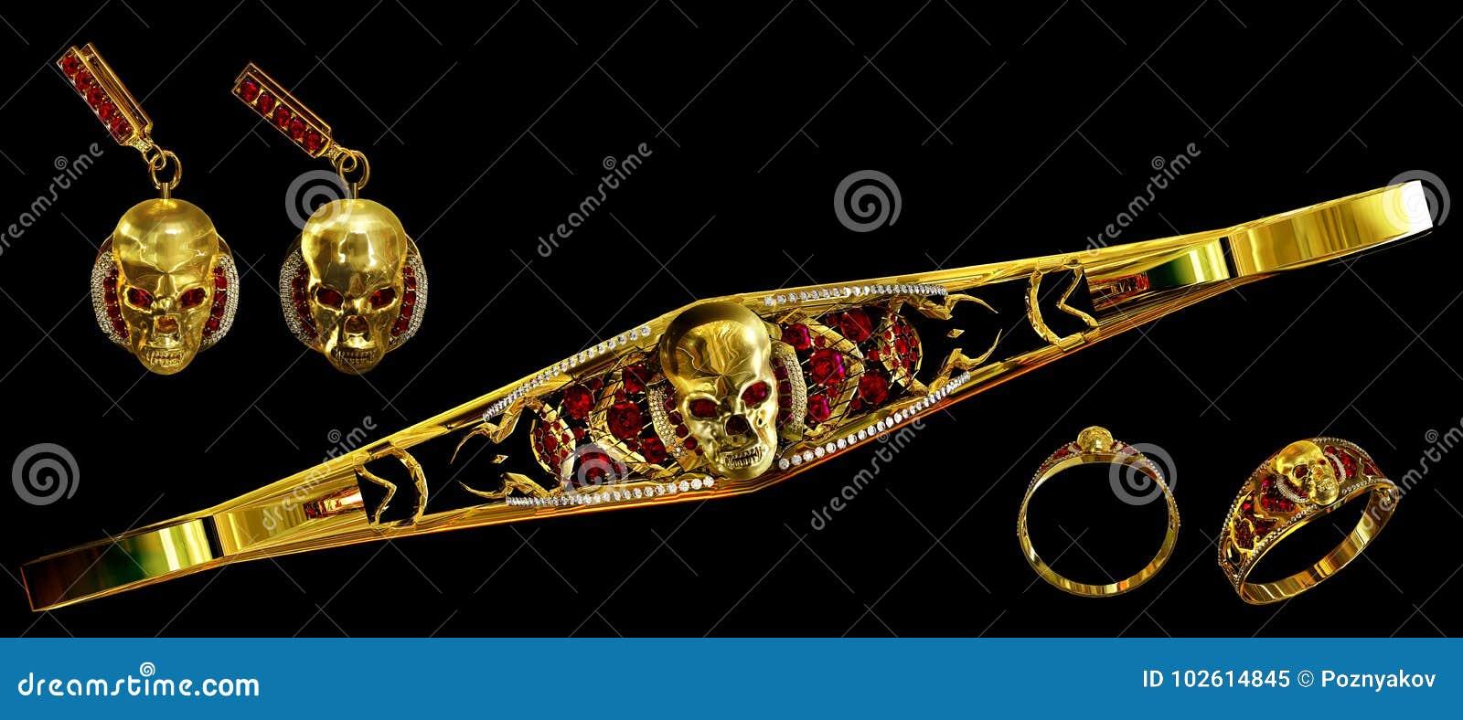 El cráneo del oro de la joyería fijó con el diamante y las gemas de rubíes rojas