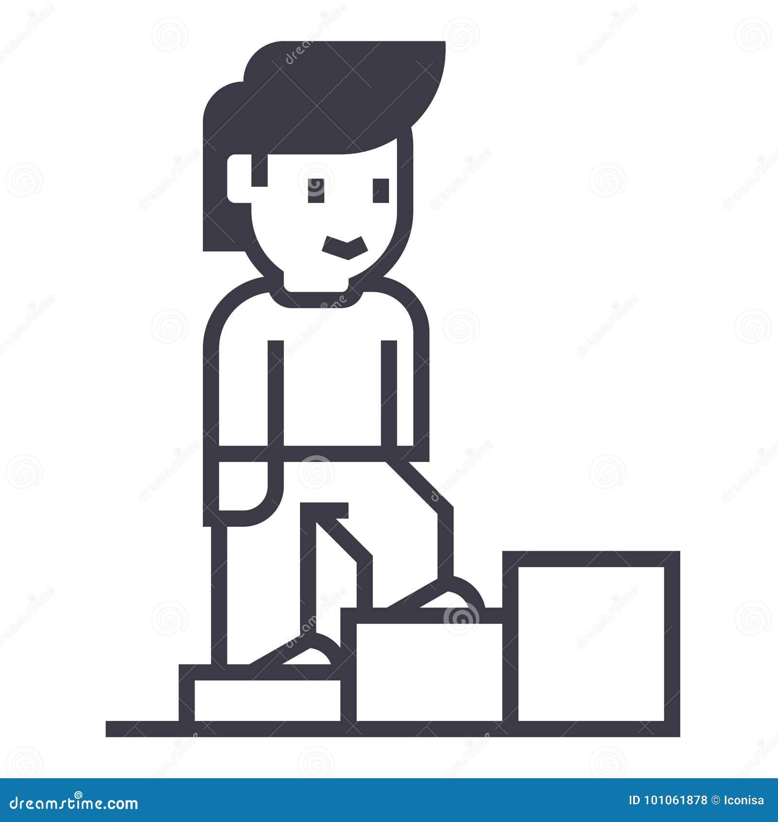 El crecimiento personal, escaleras del hombre encima del vector alinea el icono, muestra, ejemplo en el fondo, movimientos editab