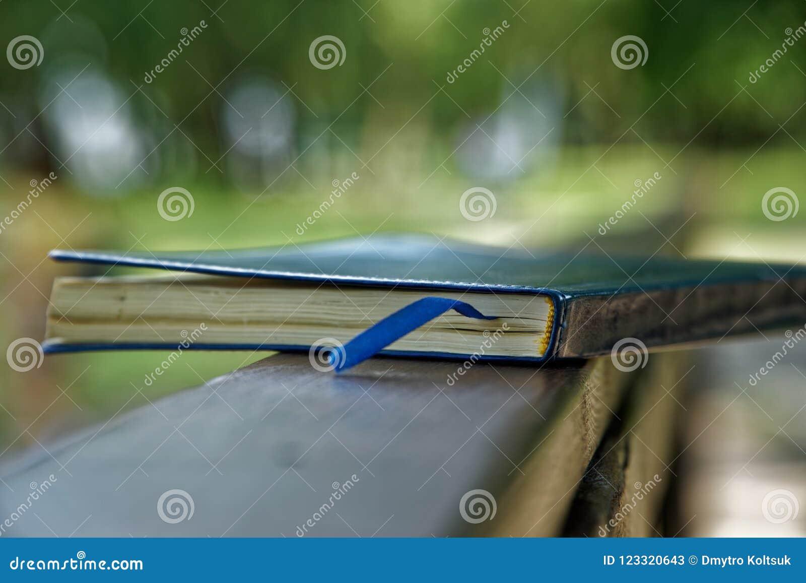 El cuaderno azul miente en la barandilla de madera en el parque, concepto del negocio