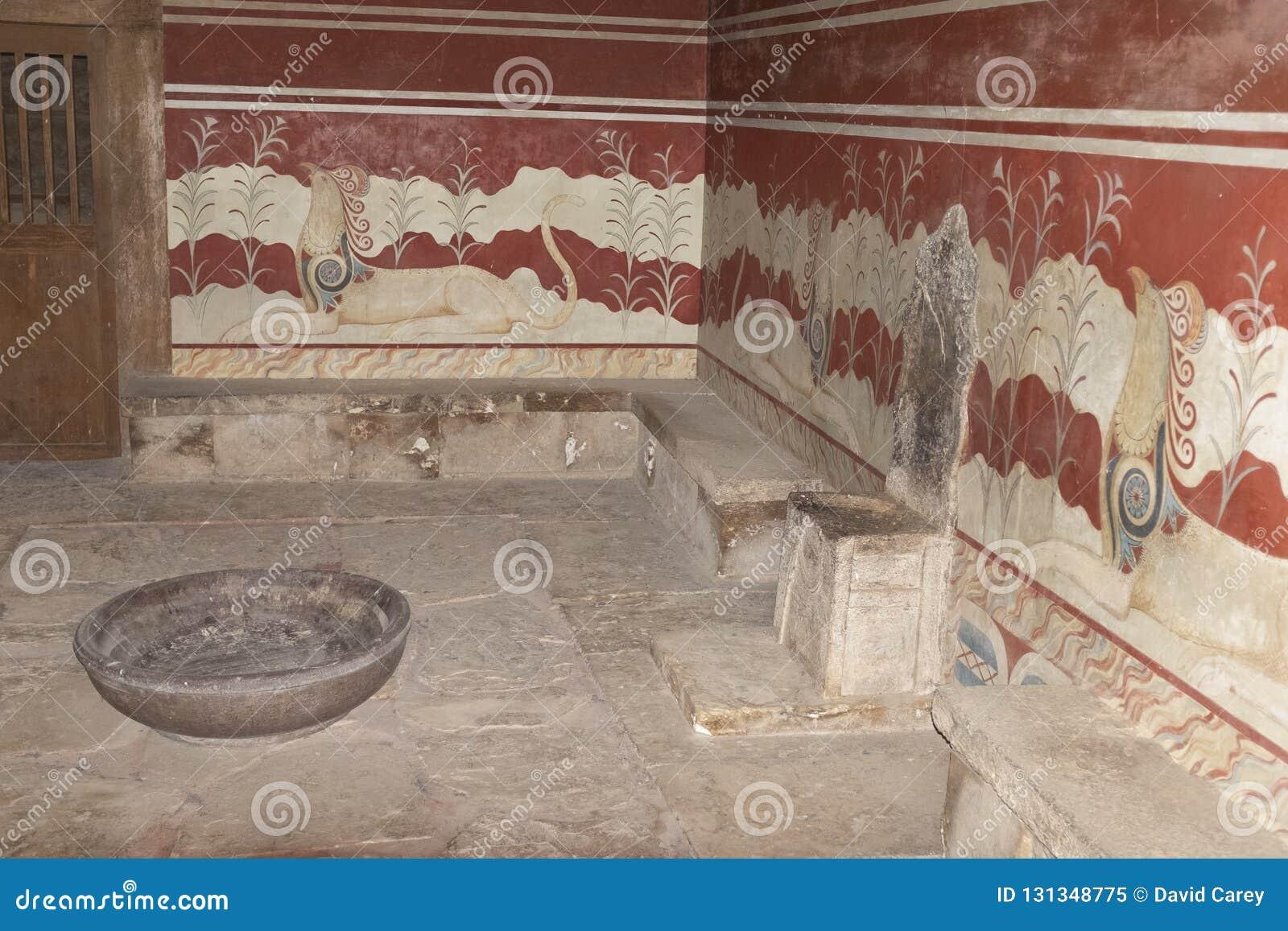El cuarto del trono en el palacio de Knossos, Creta