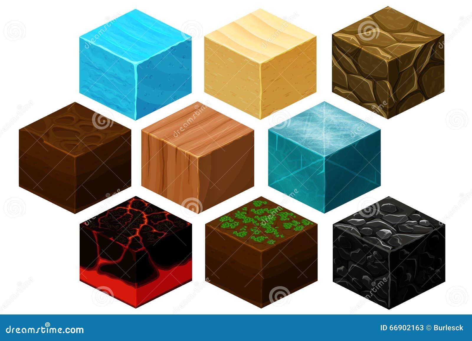 El cubo isométrico 3D texturiza el vector fijado para los juegos de ordenador