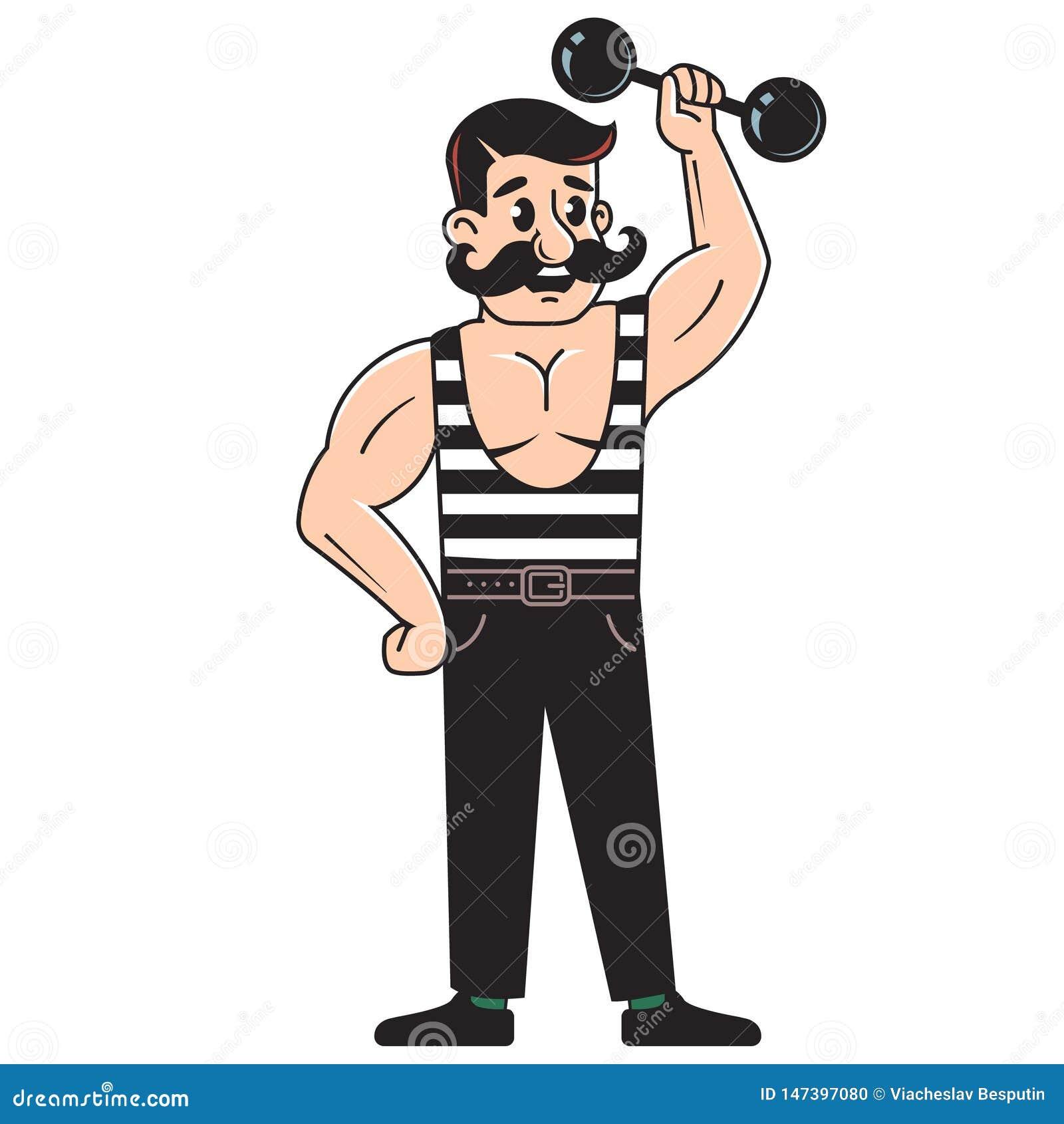El culturista masculino levanta pesa de gimnasia Jugar deportes