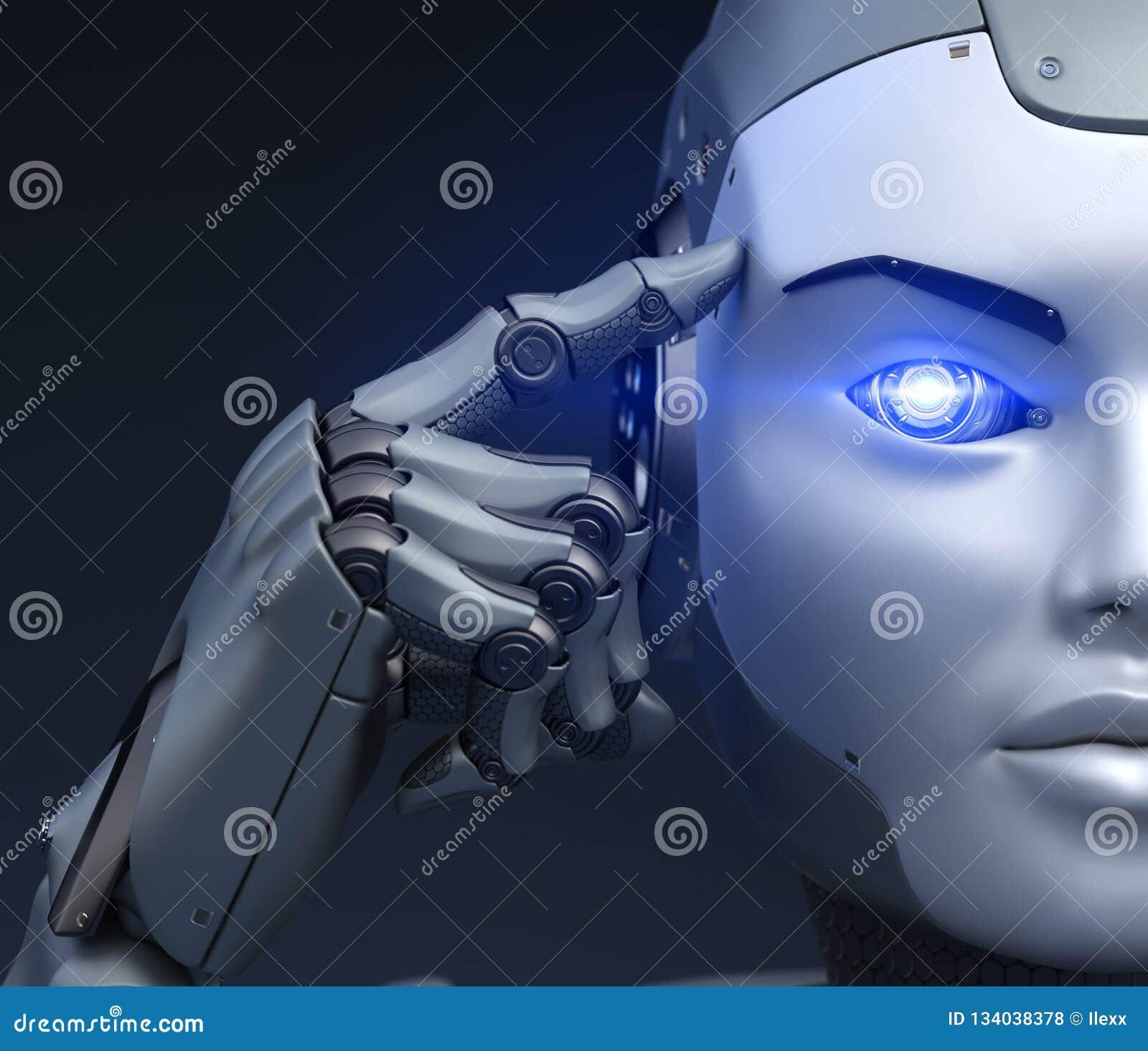 El Cyborg sostiene un finger cerca de la cabeza