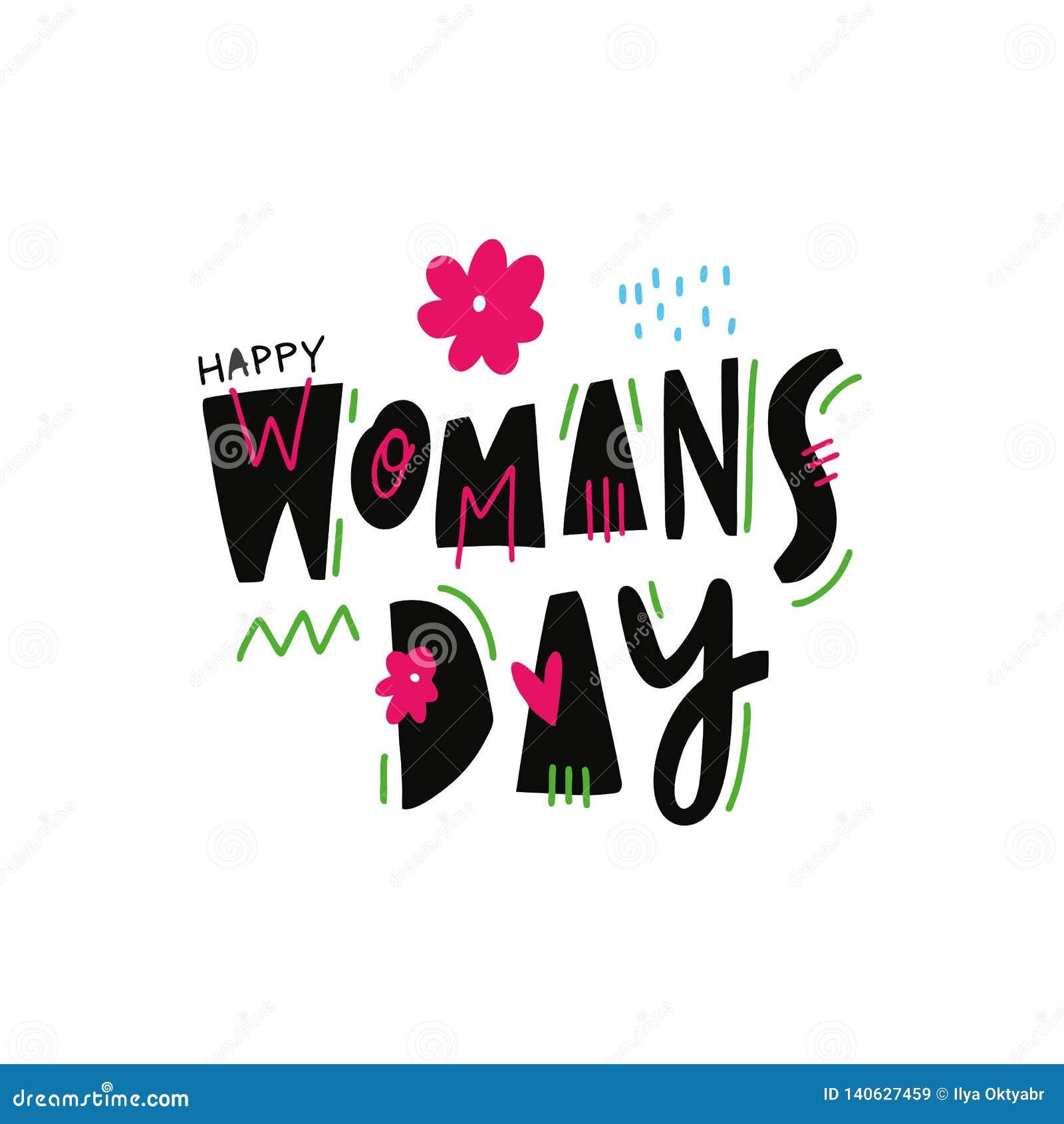 El día de la mujer feliz Ejemplo y letras exhaustos del vector de la mano Estilo de la historieta Aislado en el fondo blanco