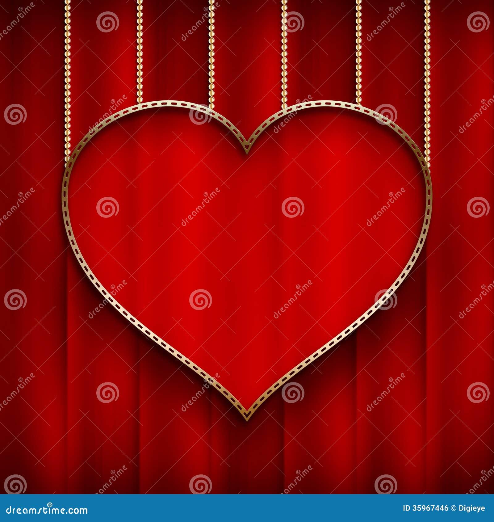 El día de tarjeta del día de San Valentín - corazón en fondo rojo