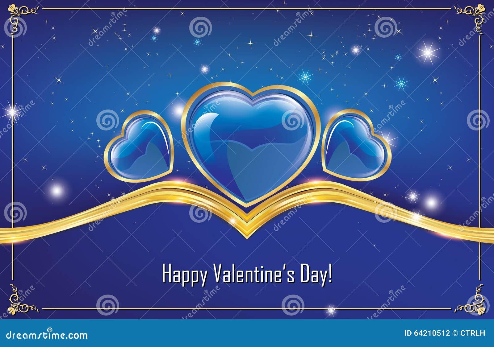 ¡El día de tarjeta del día de San Valentín feliz! tarjeta de felicitación azul