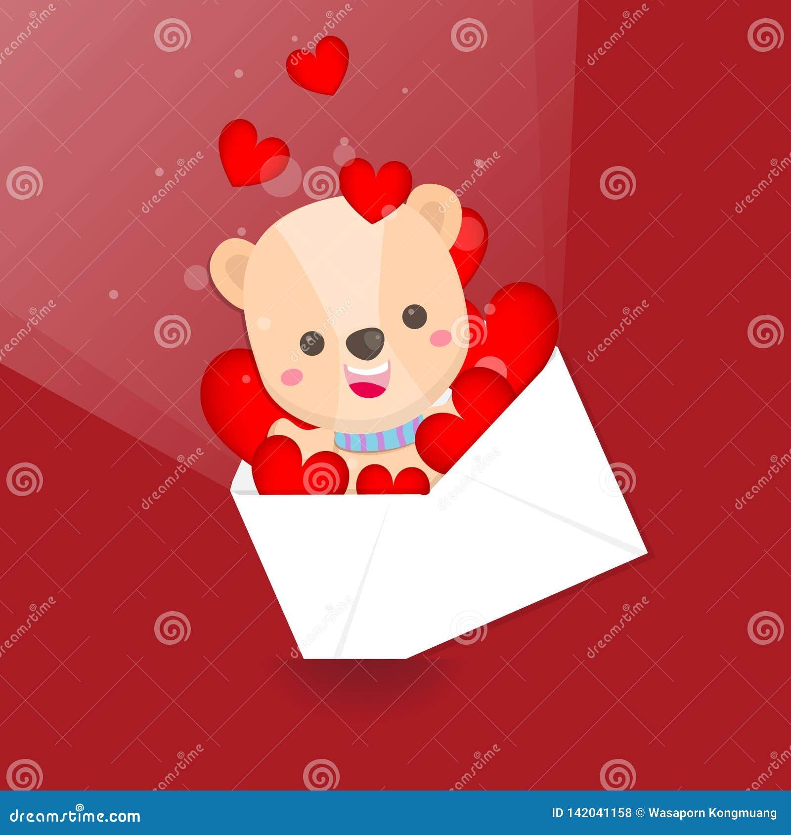 El d?a de tarjeta del d?a de San Valent?n feliz, oso lindo y el sobre del coraz?n en fondo rosado Tarjeta de felicitaci?n para el