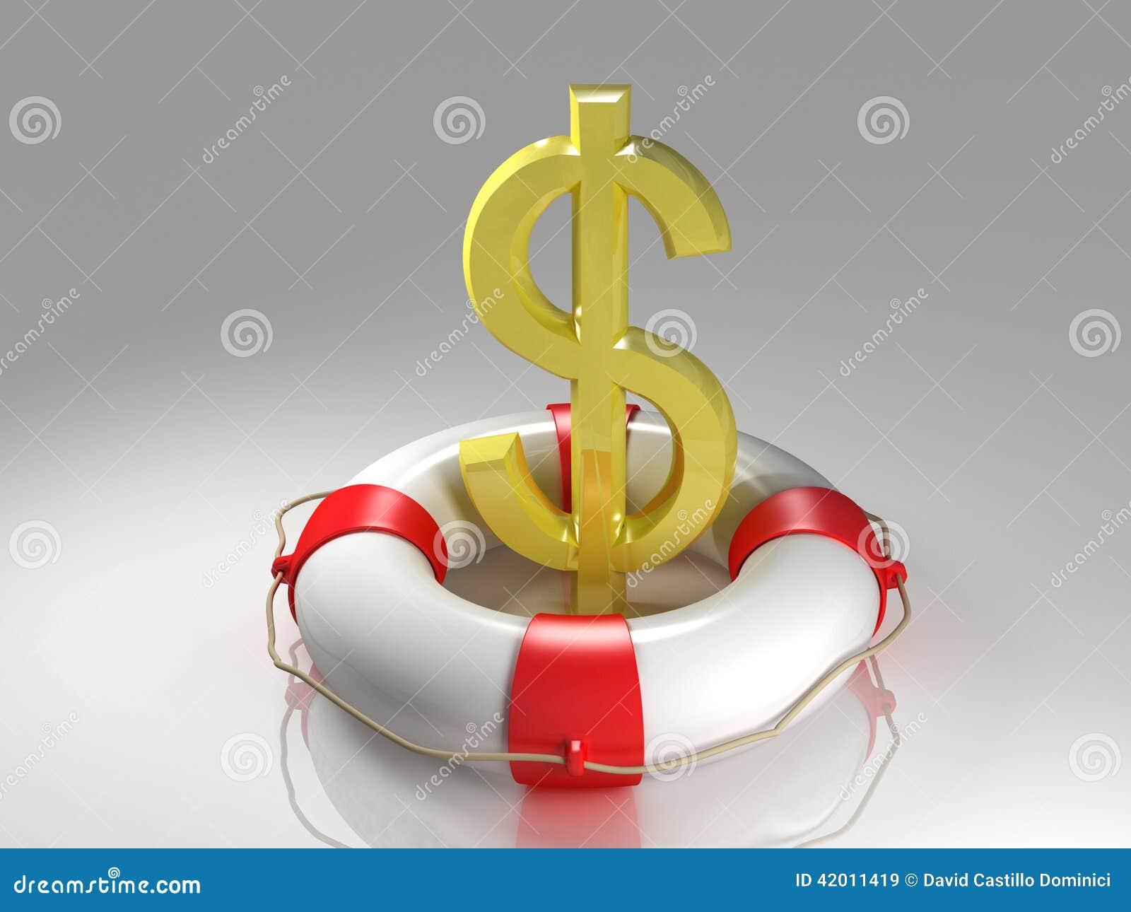 El dólar firma adentro el lifebuoy
