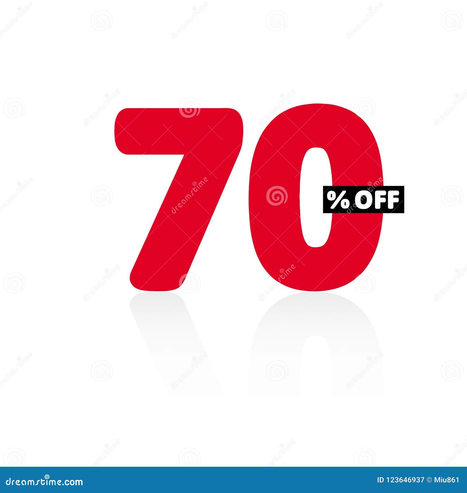 b84ca7e44 El 70% de descuento simple Ejemplo del vector de la venta Gráfico del  precio de oferta del descuento Número rojo Fondo blanco sombra gris