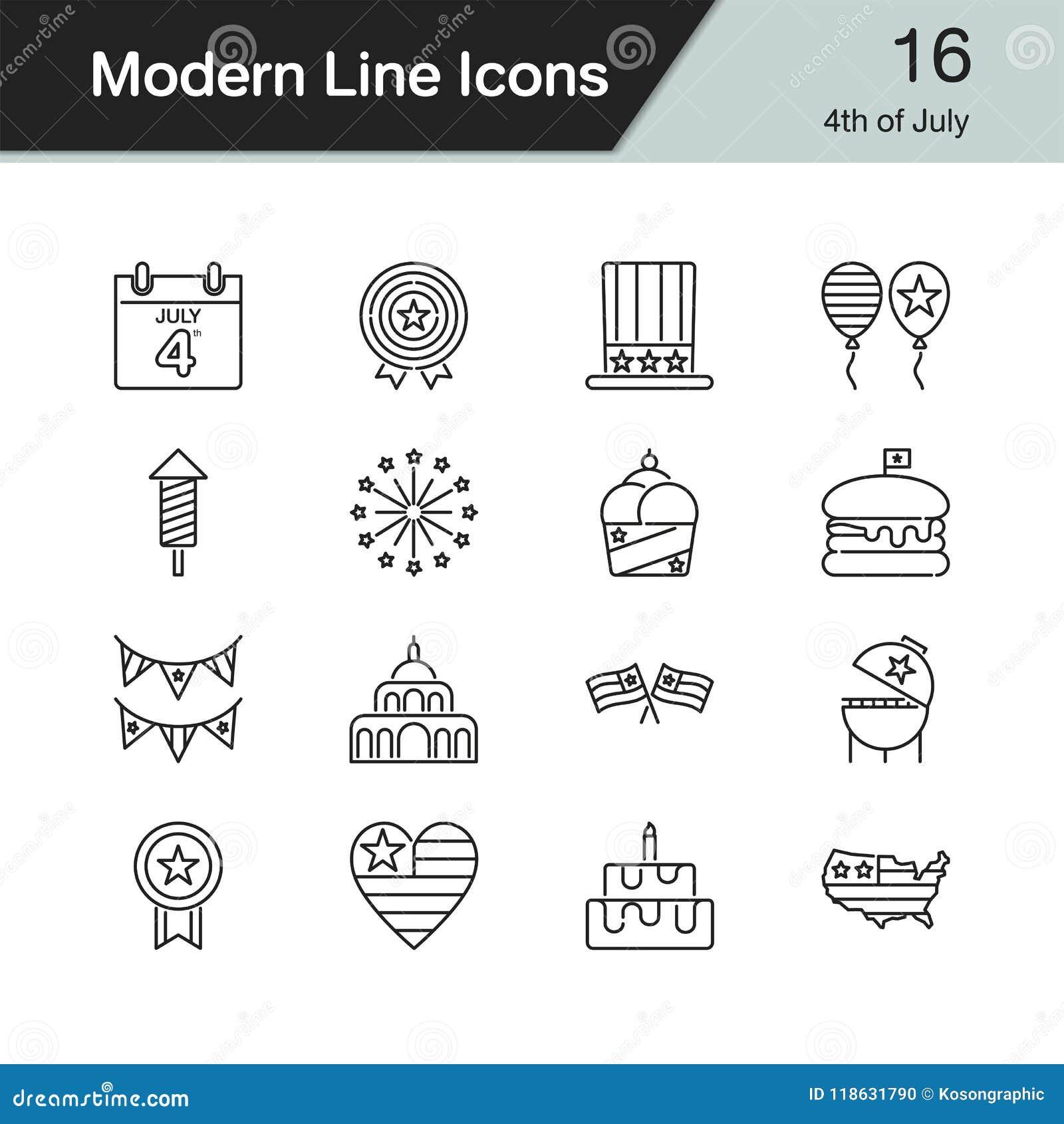 El 4 de julio, iconos del Día de la Independencia La línea moderna diseño fijó 16