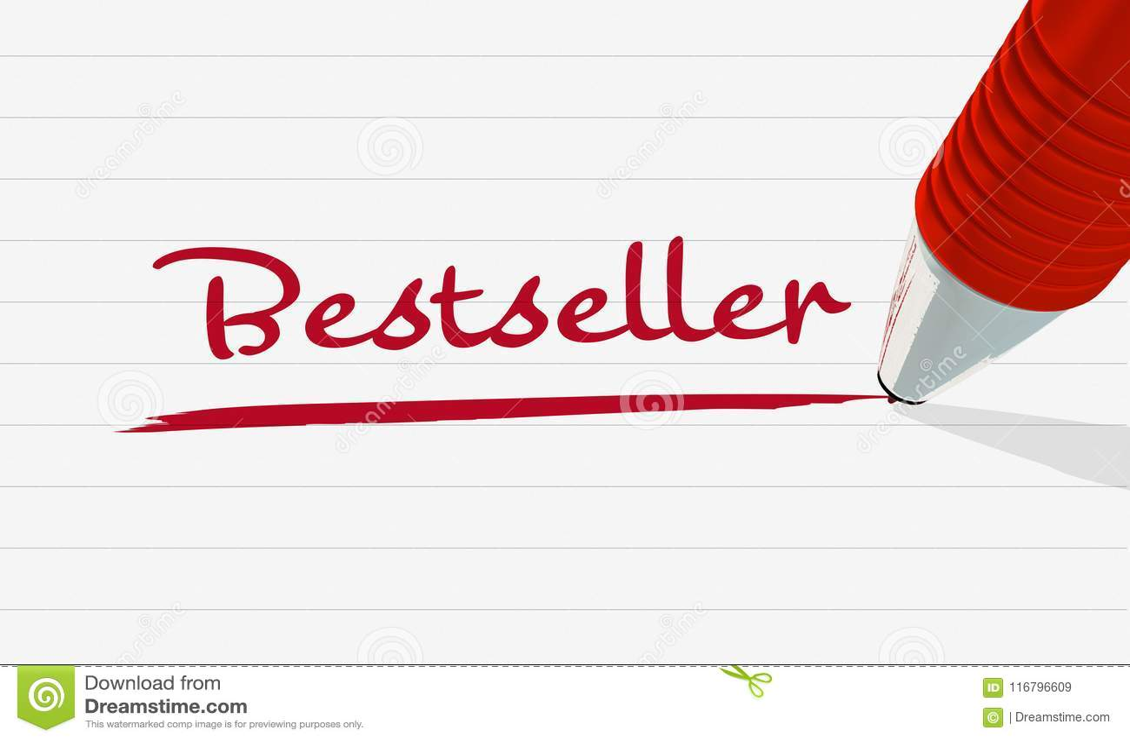 El ` del bestseller del ` de la palabra escrito en rojo y subrayado