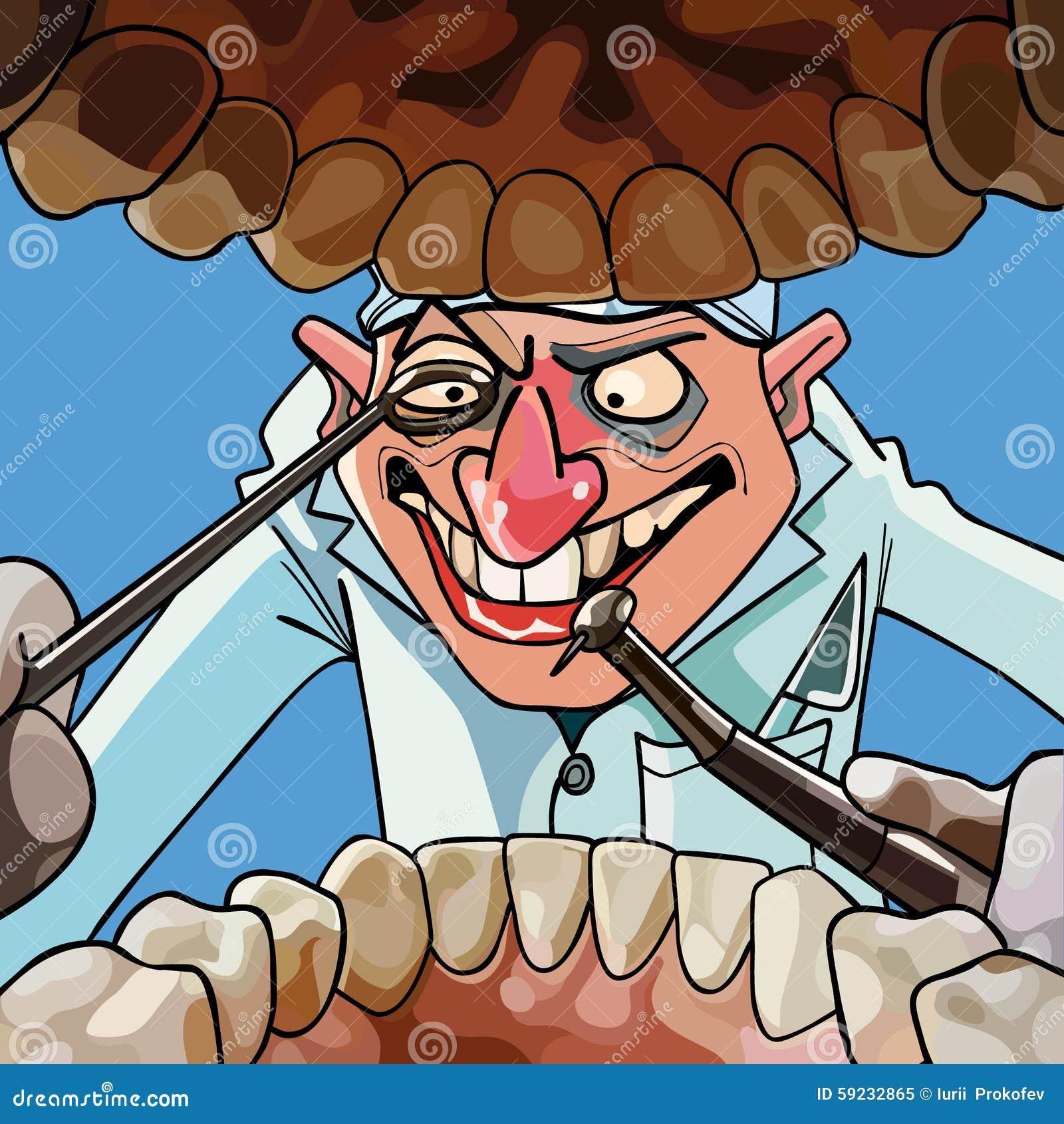 El dentista de la historieta con las herramientas mira en la boca abierta