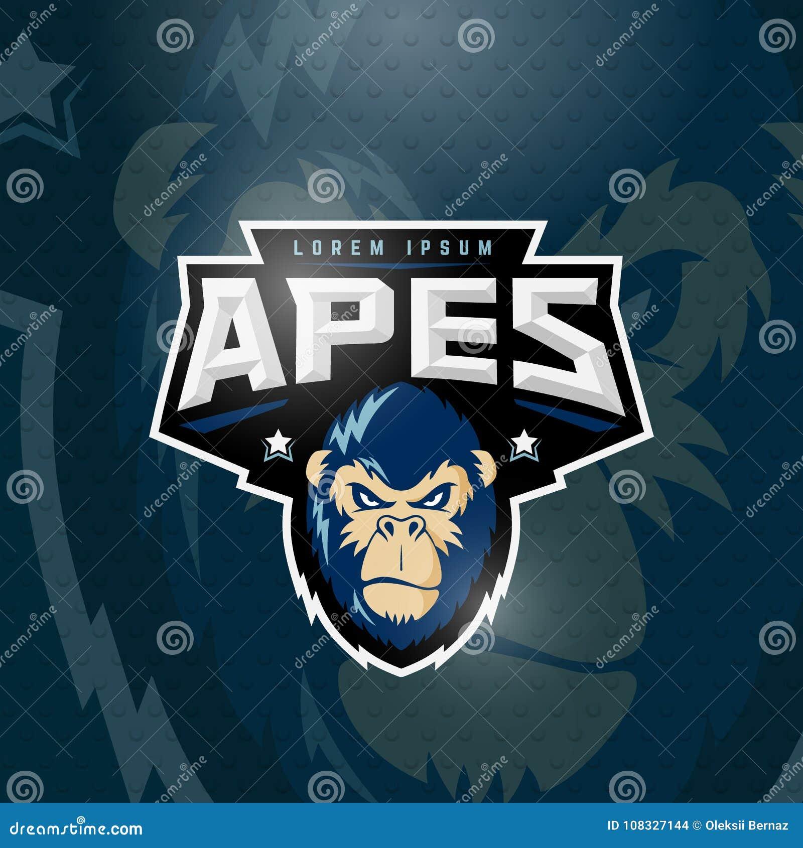El deporte imita la muestra, el emblema o a Logo Template abstracto del vector Deporte Team Mascot Label Gorilla Face enojado con