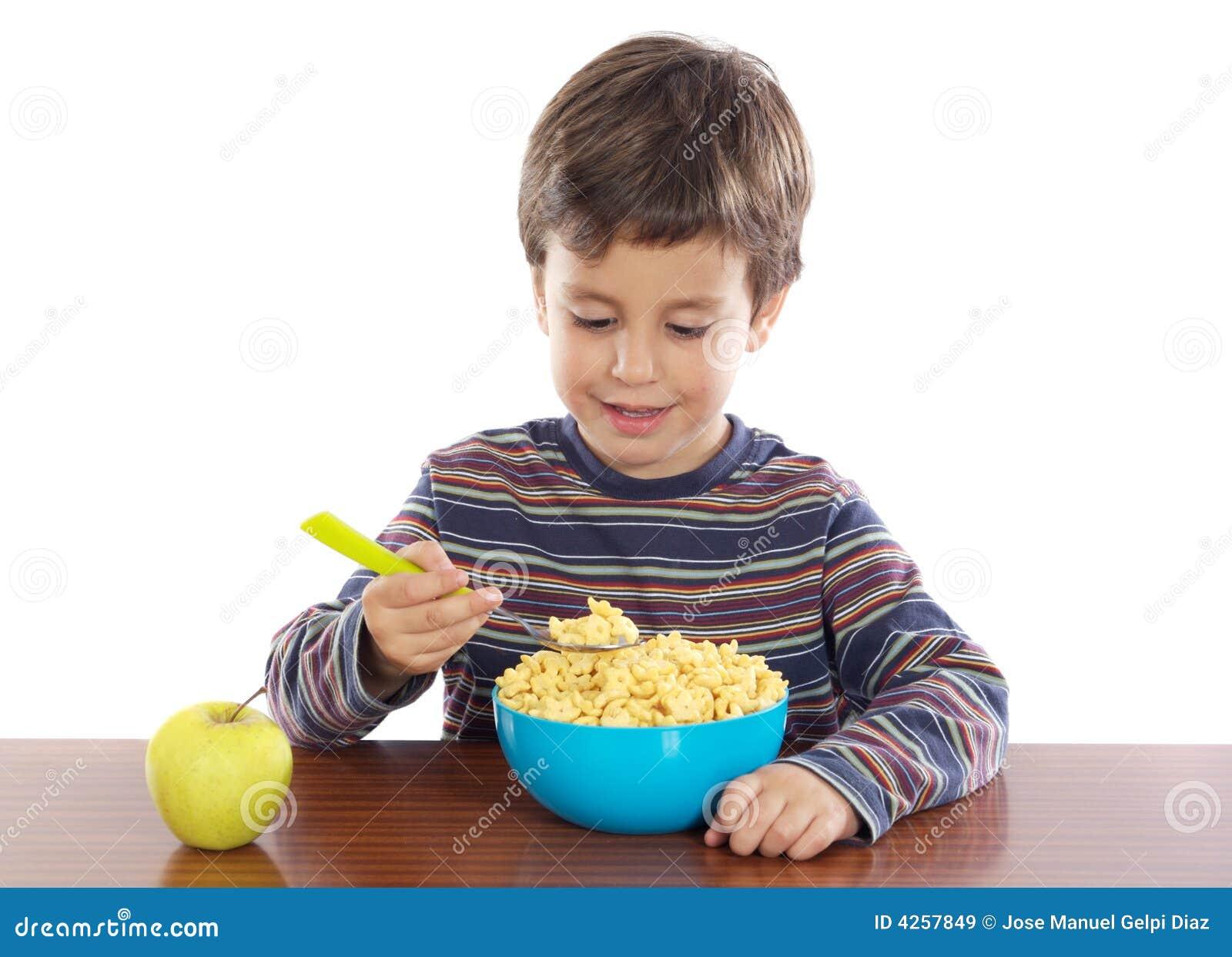 El Desayunar Del Niño Imágenes De Archivo Libres De